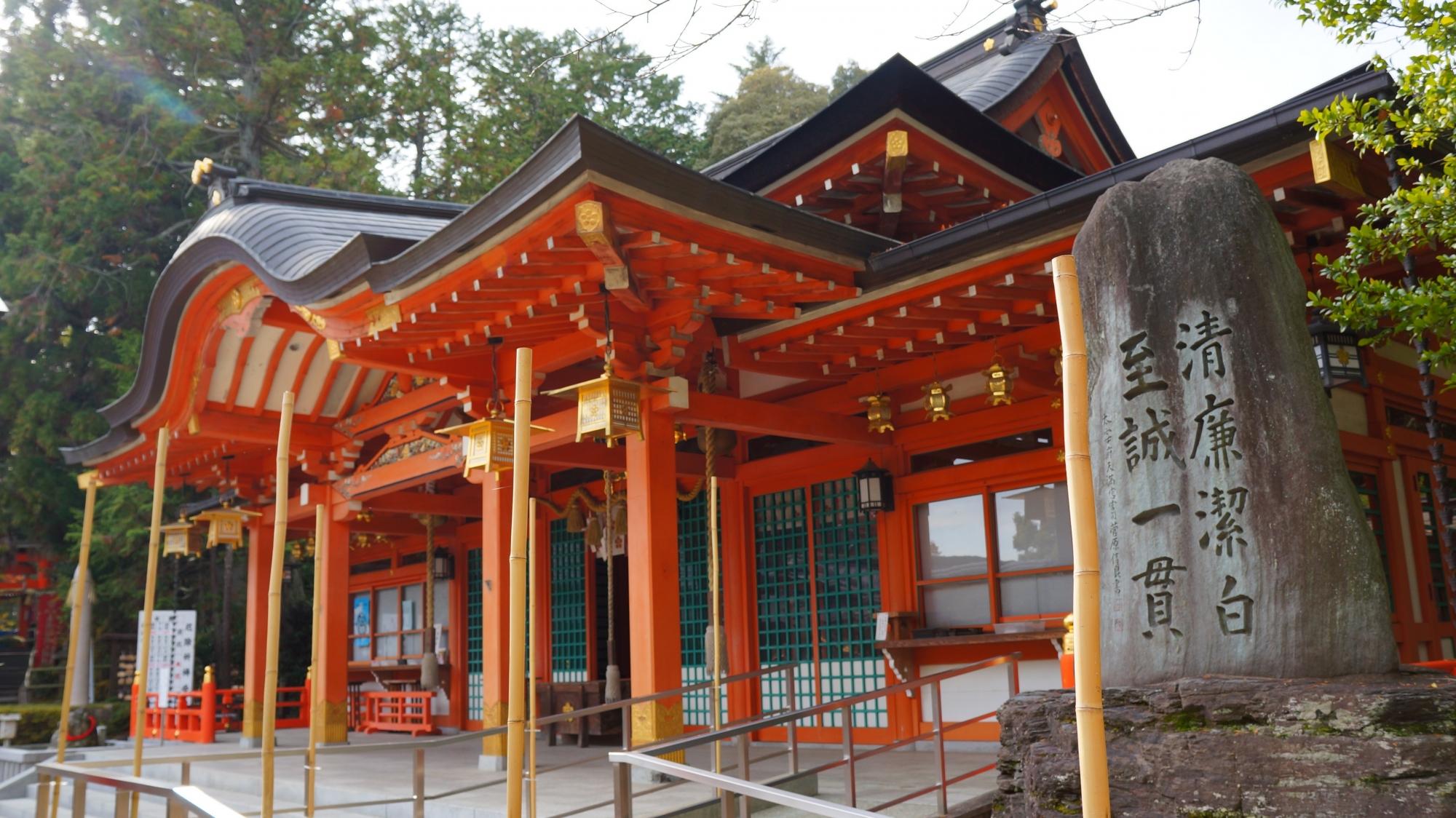 京都長岡天満宮の見事な社殿(拝殿)