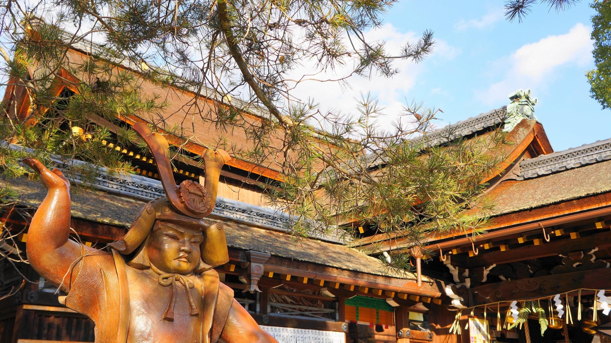 勝負ごとの神様として有名な藤森神社の金太郎像と本殿