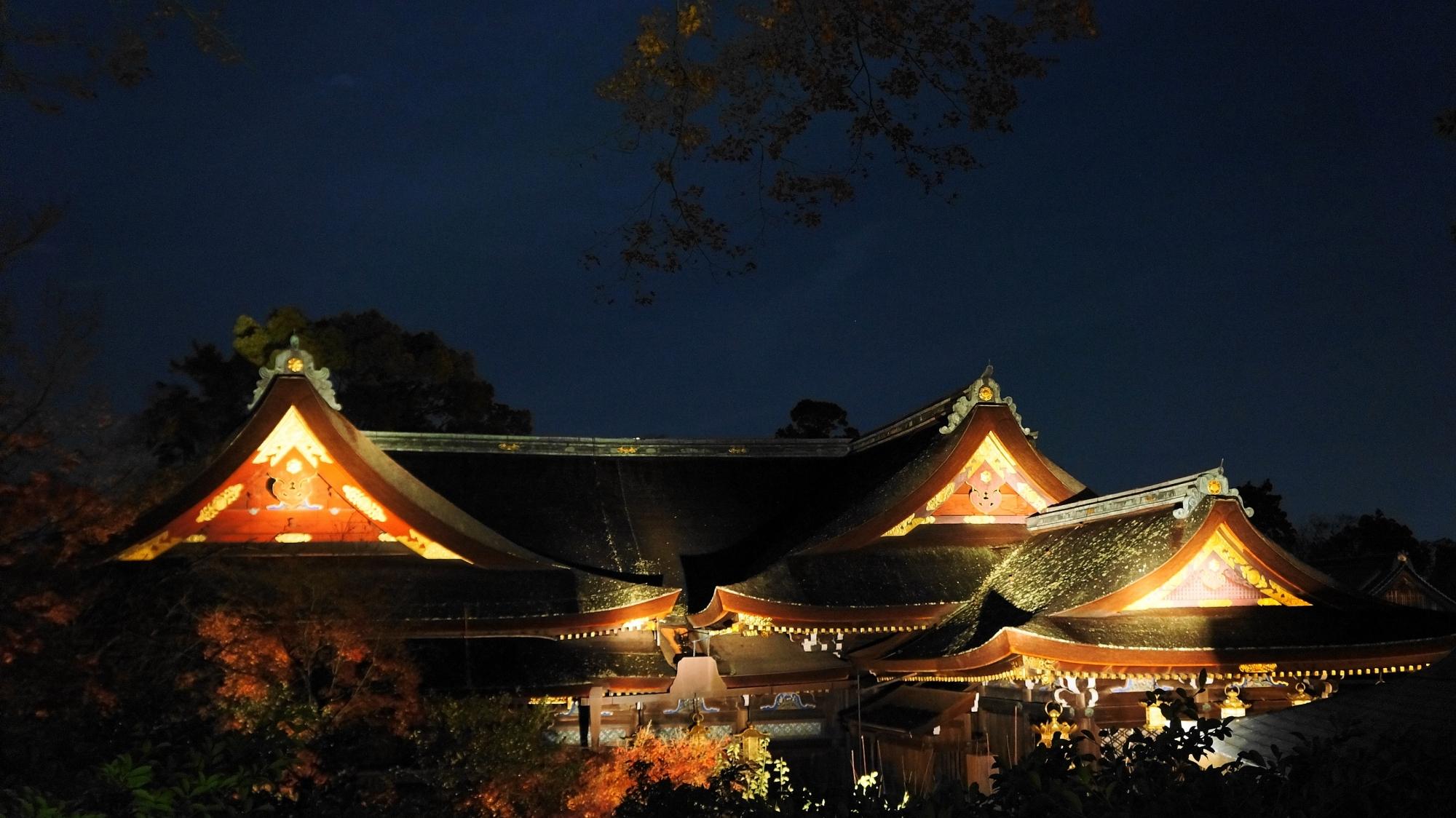 北野天満宮 社殿 ライトアップ