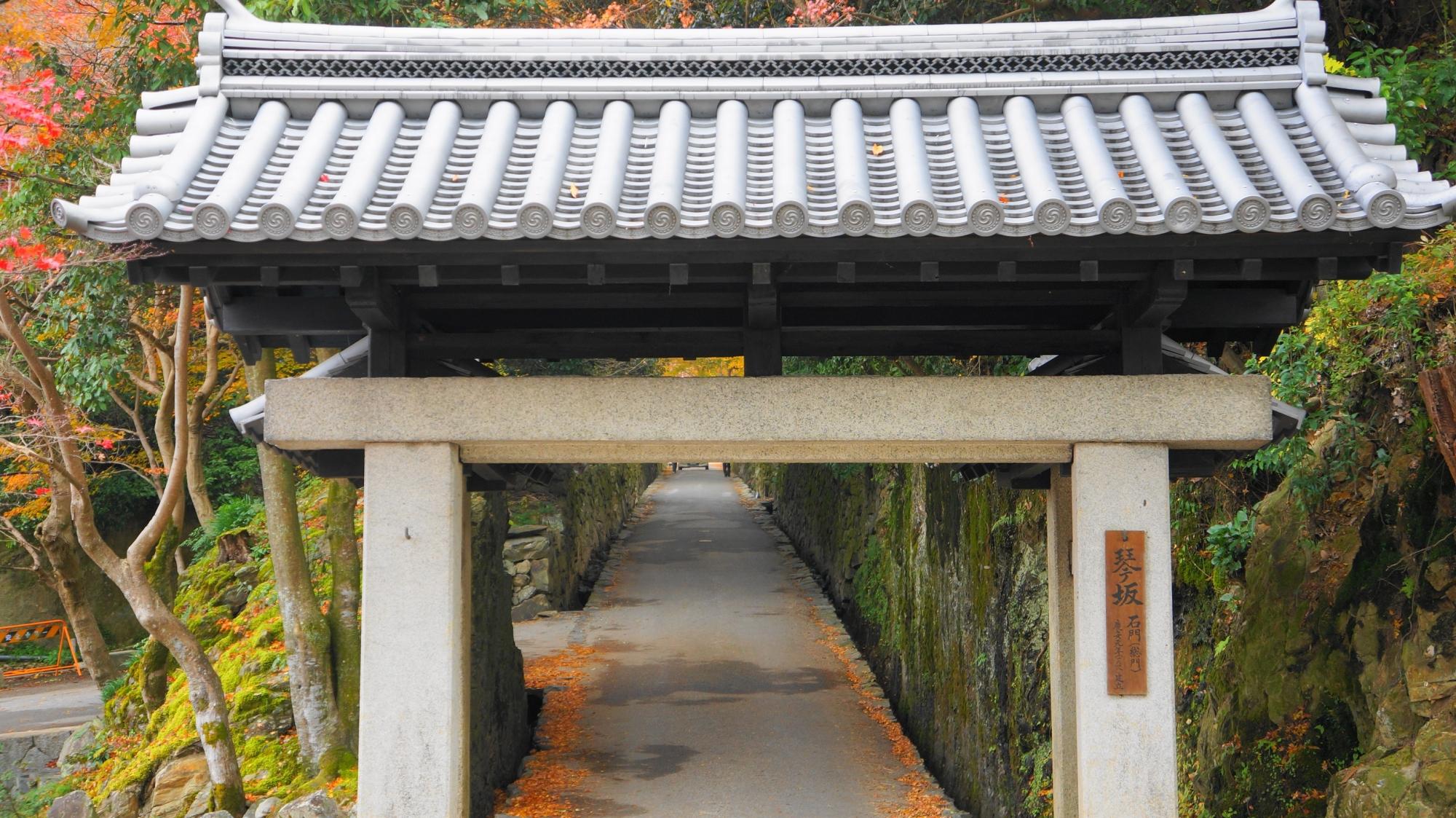 興聖寺の参道である長く緩やかな坂道である琴坂