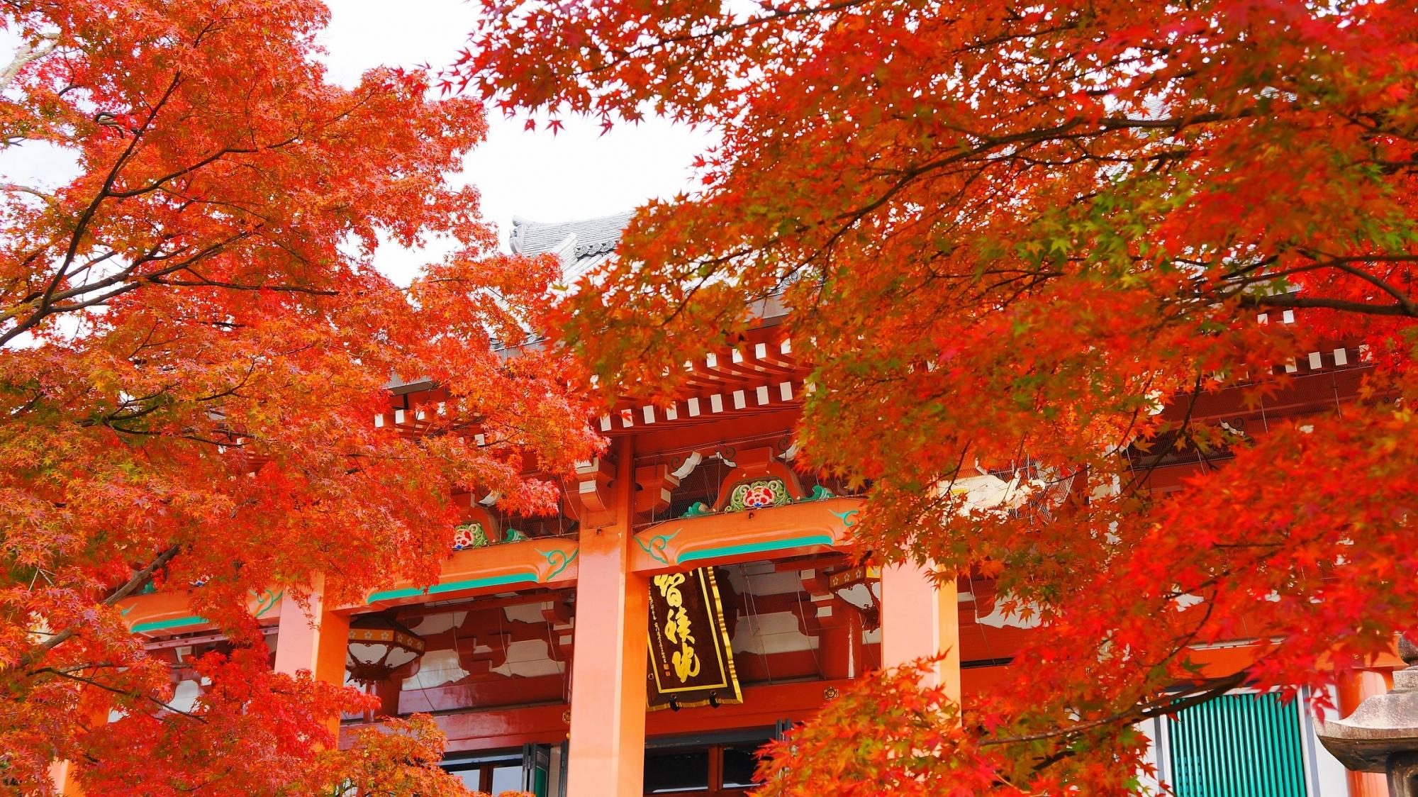 秋色につつまれる雅な雰囲気のする金堂