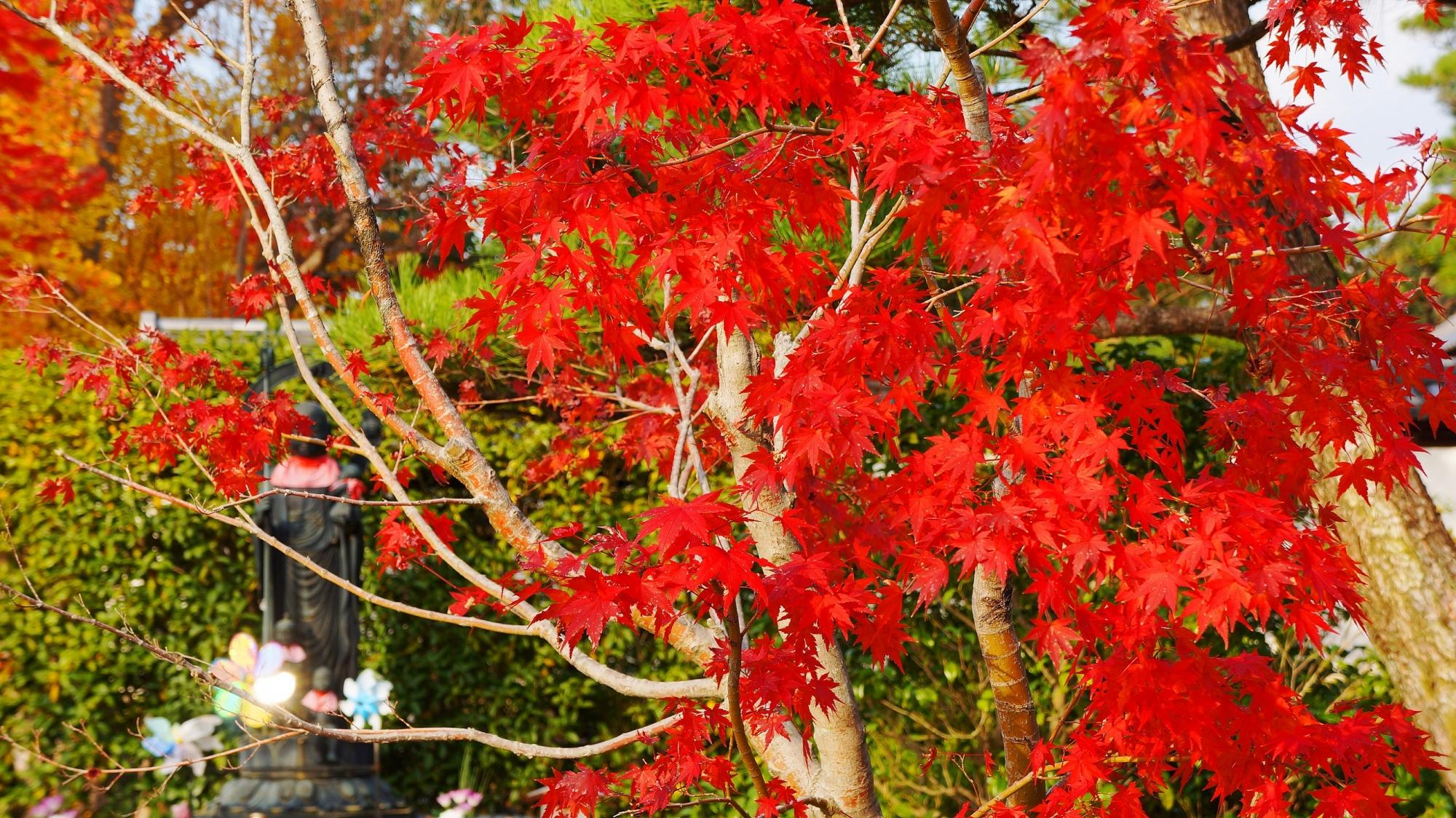 優しそうな延命子育地蔵さんを染める赤い紅葉