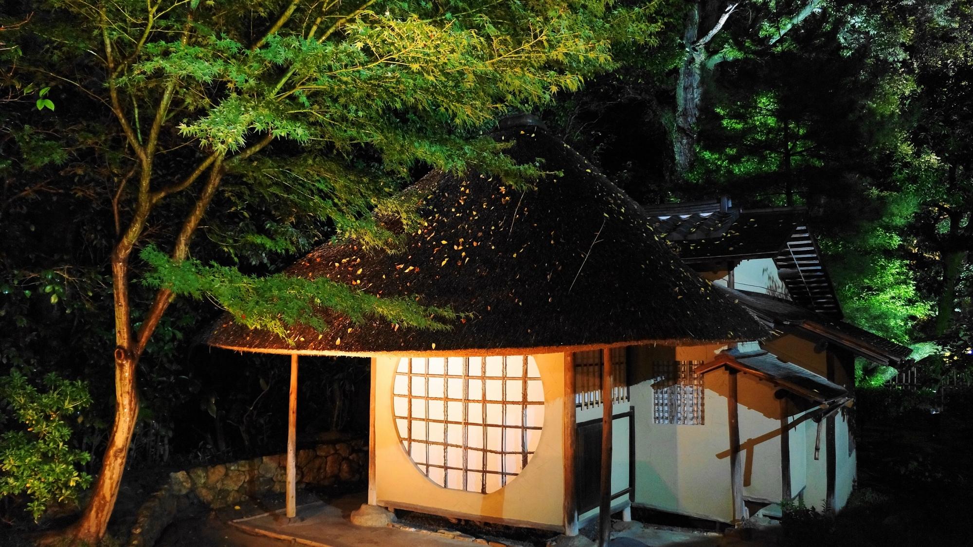 高台寺の遺芳庵のライトアップ