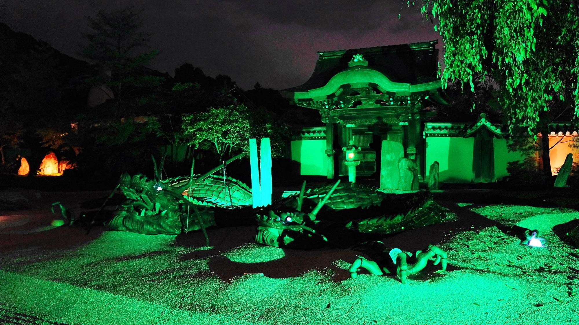 kyoto Kodai-ji Temple Hojo-Garden 龍 ライトアップ 高台寺 方丈庭園