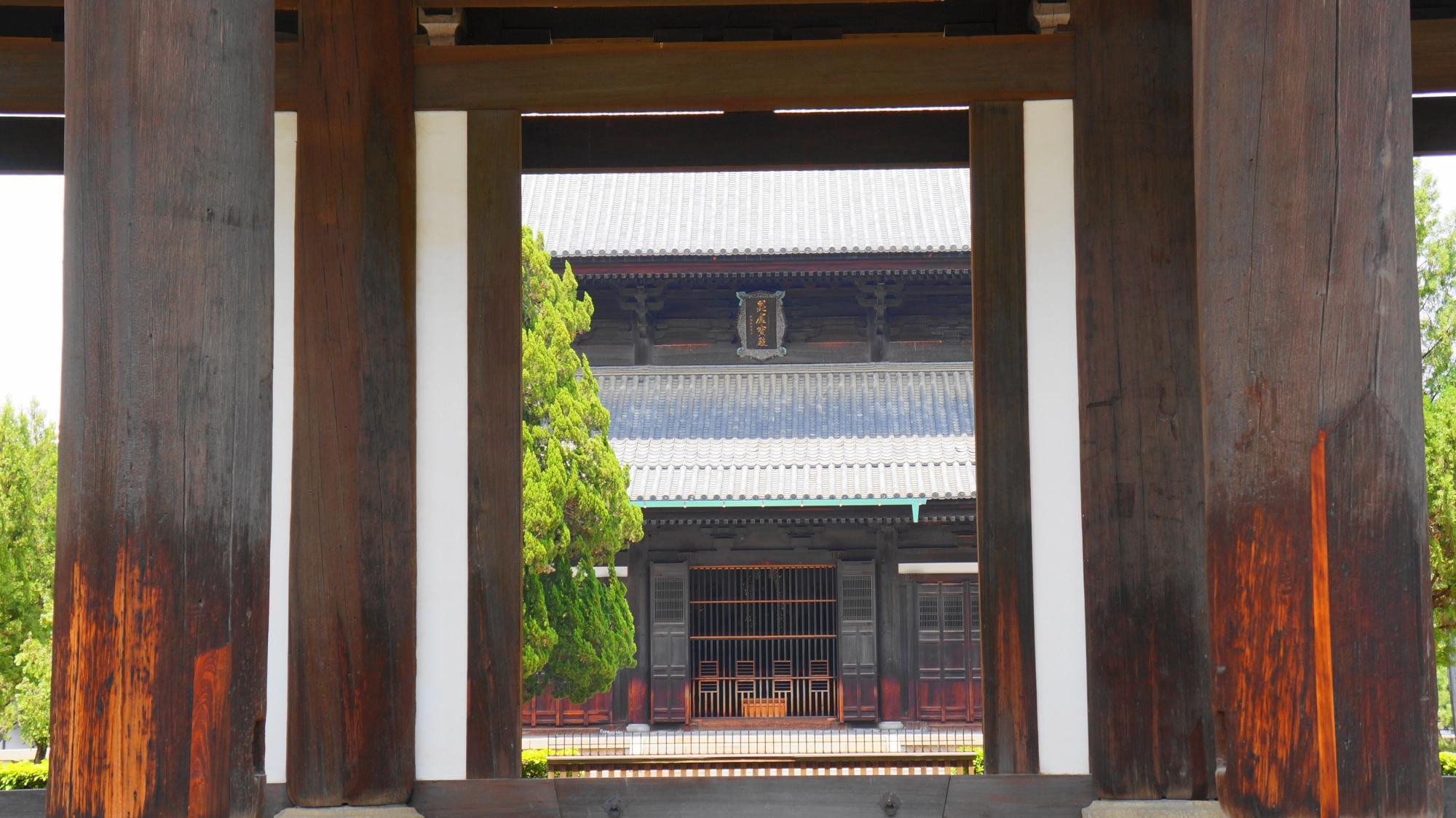 東福寺の山門の下から眺めた本堂