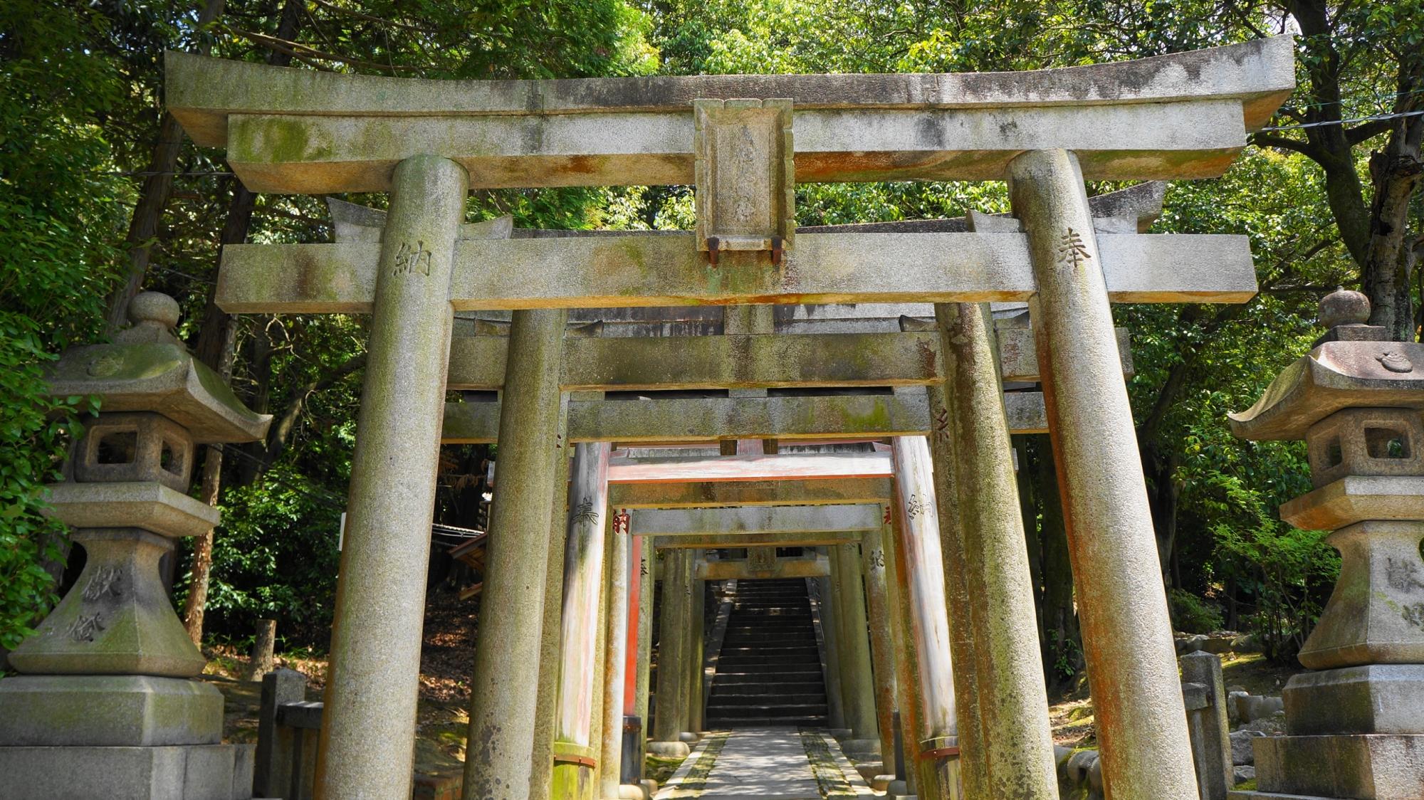 石の鳥居の並ぶ東福寺の五社成就宮