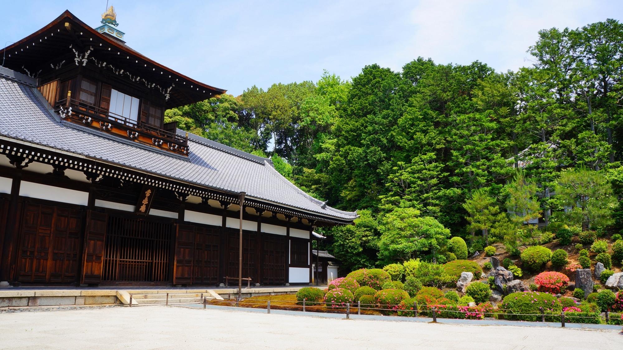 背景は圧倒的な緑になっている東福寺の開山堂