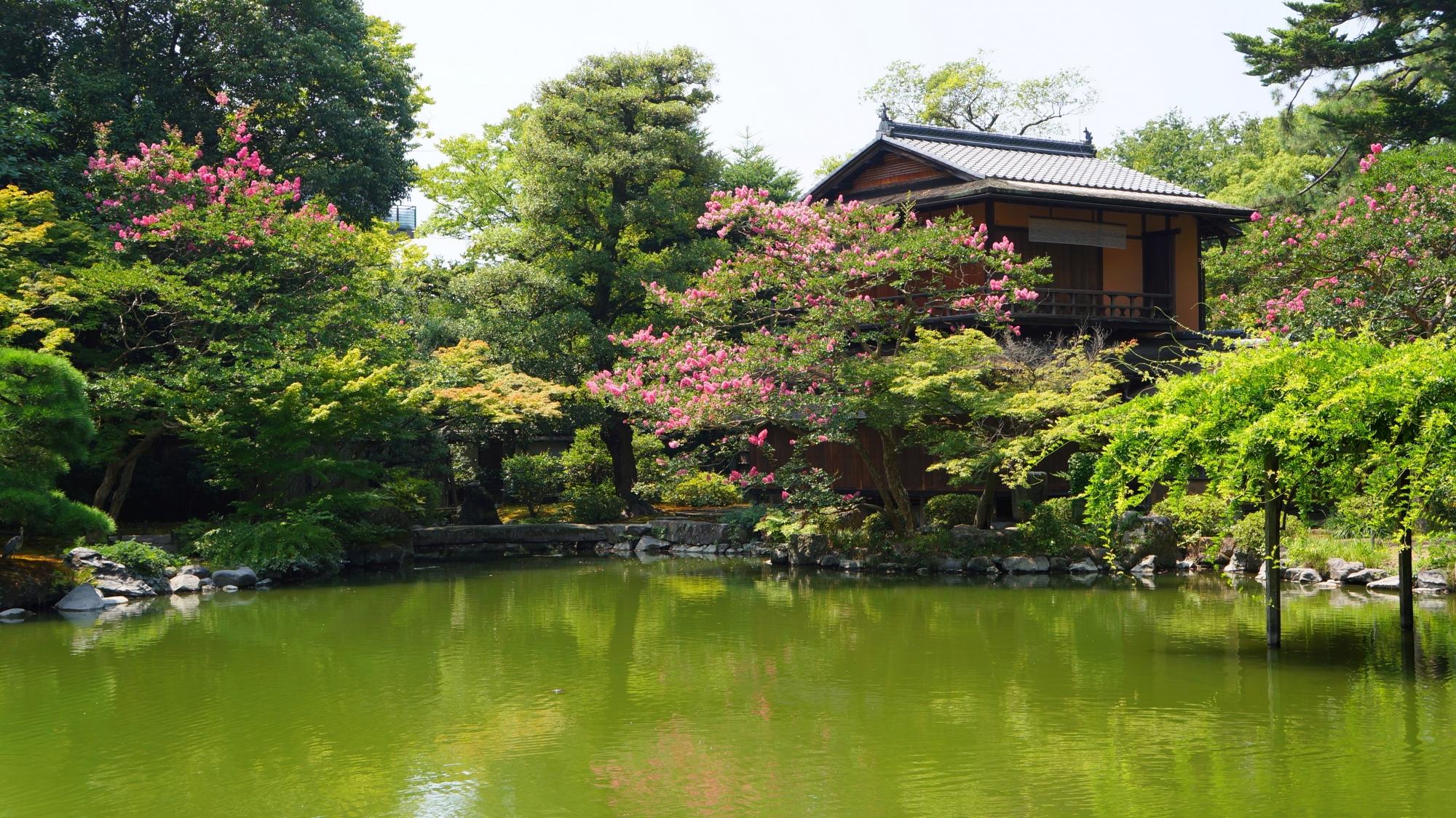 京都御苑の風情ある夏の九條池と拾翠亭(しゅうすいてい)