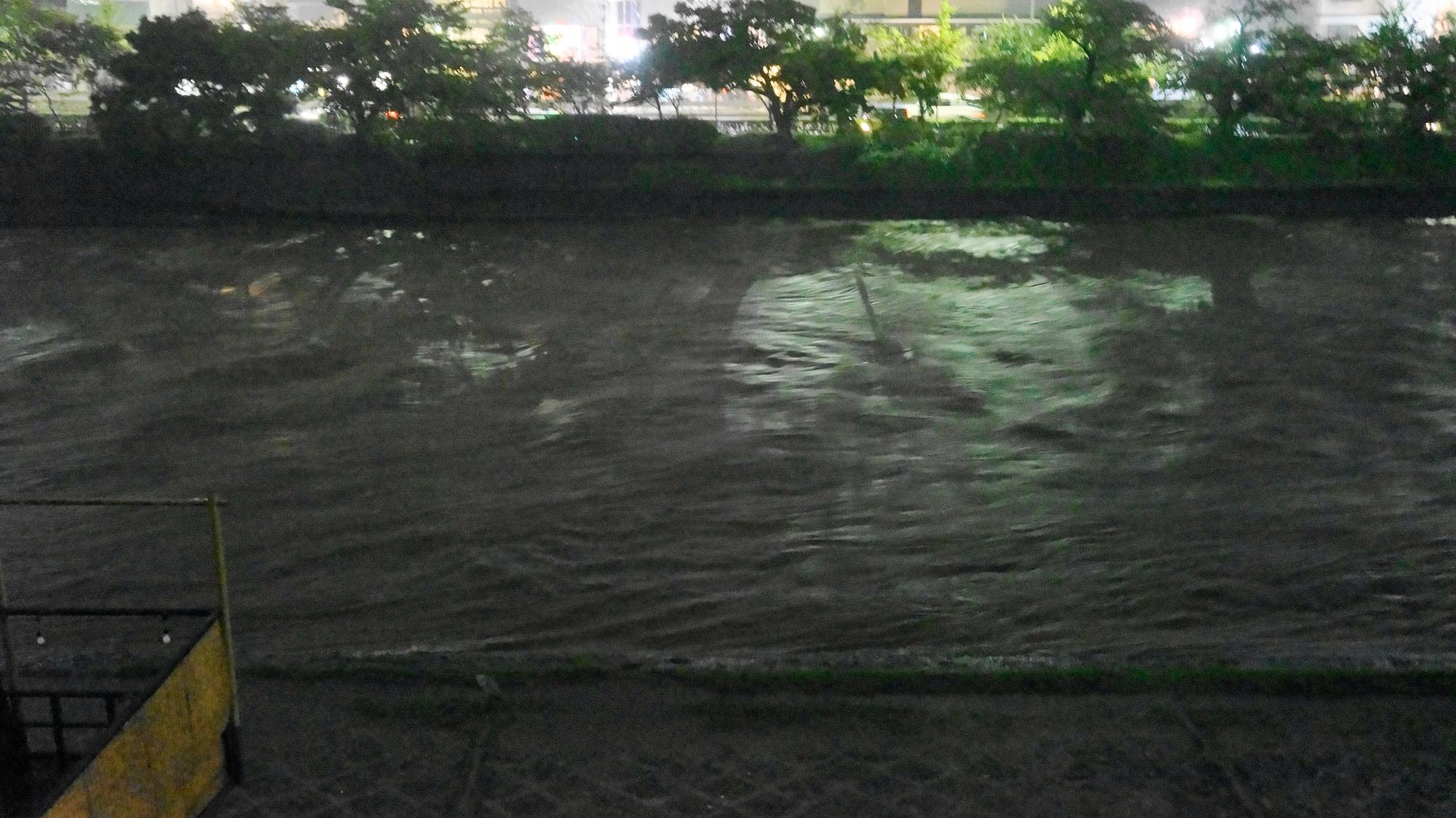 そのみそそぎ川にも水が溢れ出す鴨川