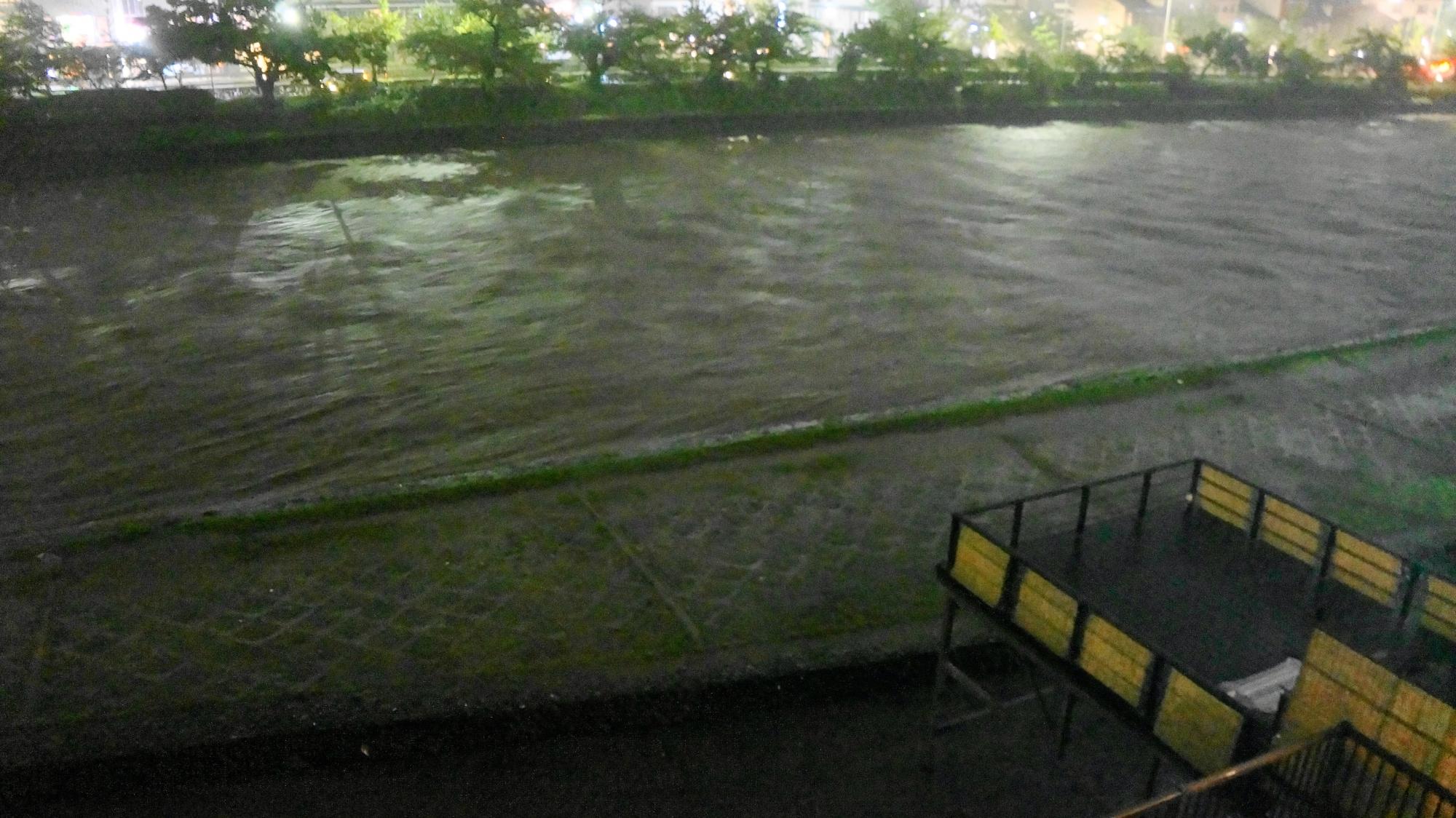 水位がどんどん上昇して行き流れも速い鴨川
