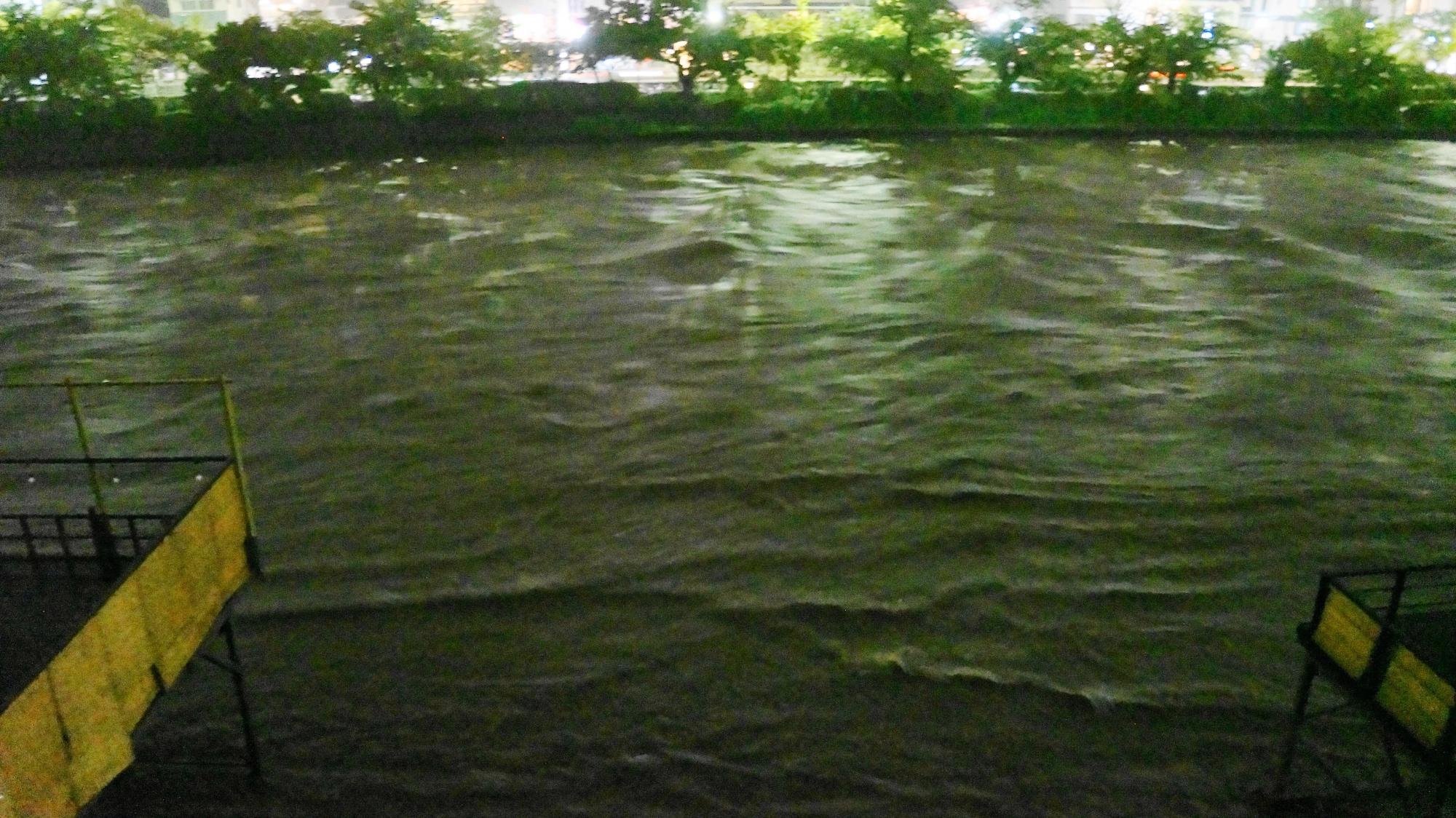 川辺がだんだん危険になる2013年の増水した鴨川