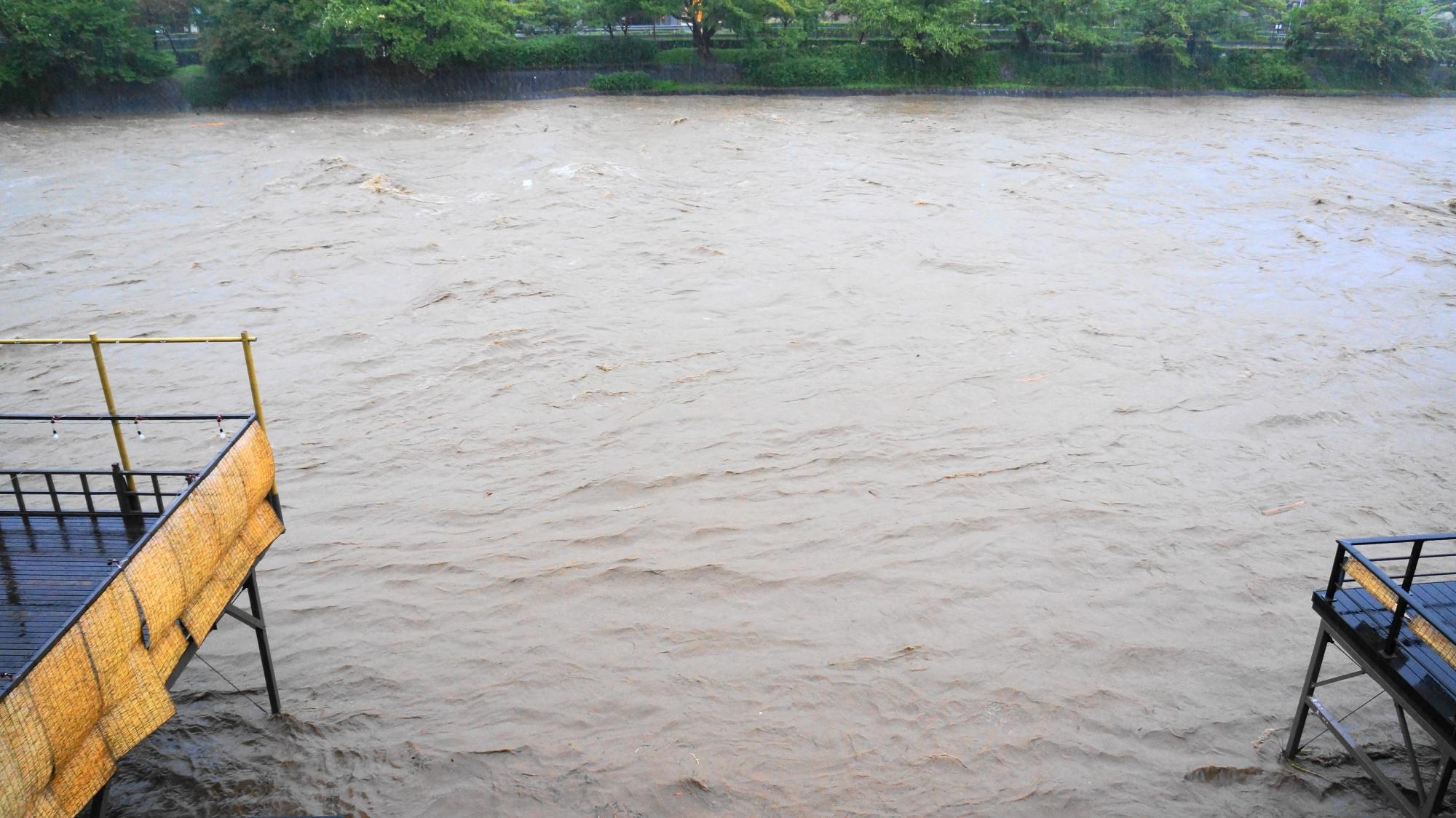 高画質 大雨特別警報 鴨川 写真