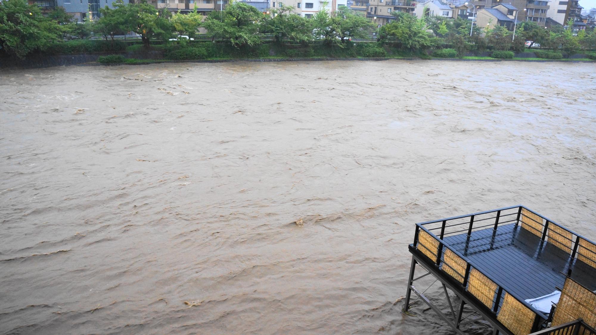 どこまで耐えられるか分らない大雨特別警報の発令された京都の鴨川