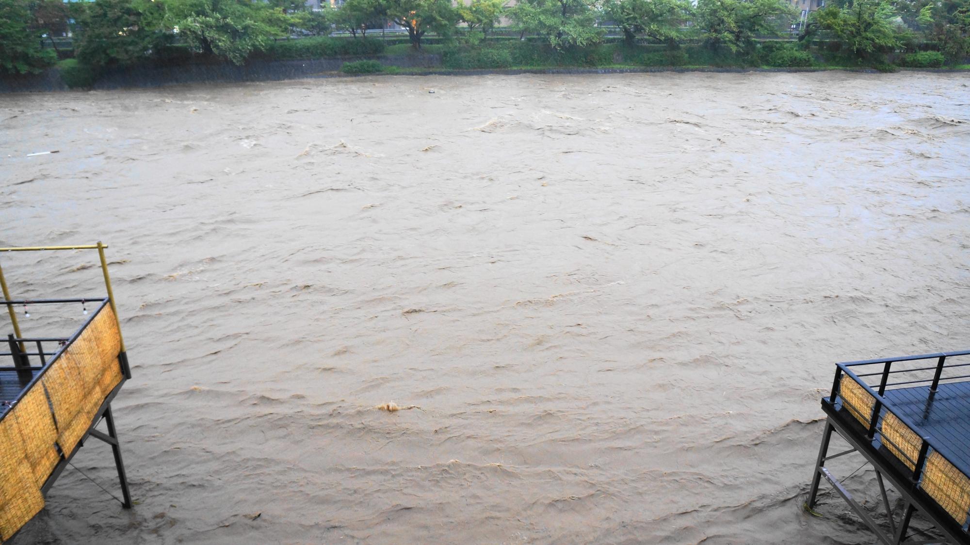 普段の穏やかな鴨川からも想像もつかない危険な光景の鴨川