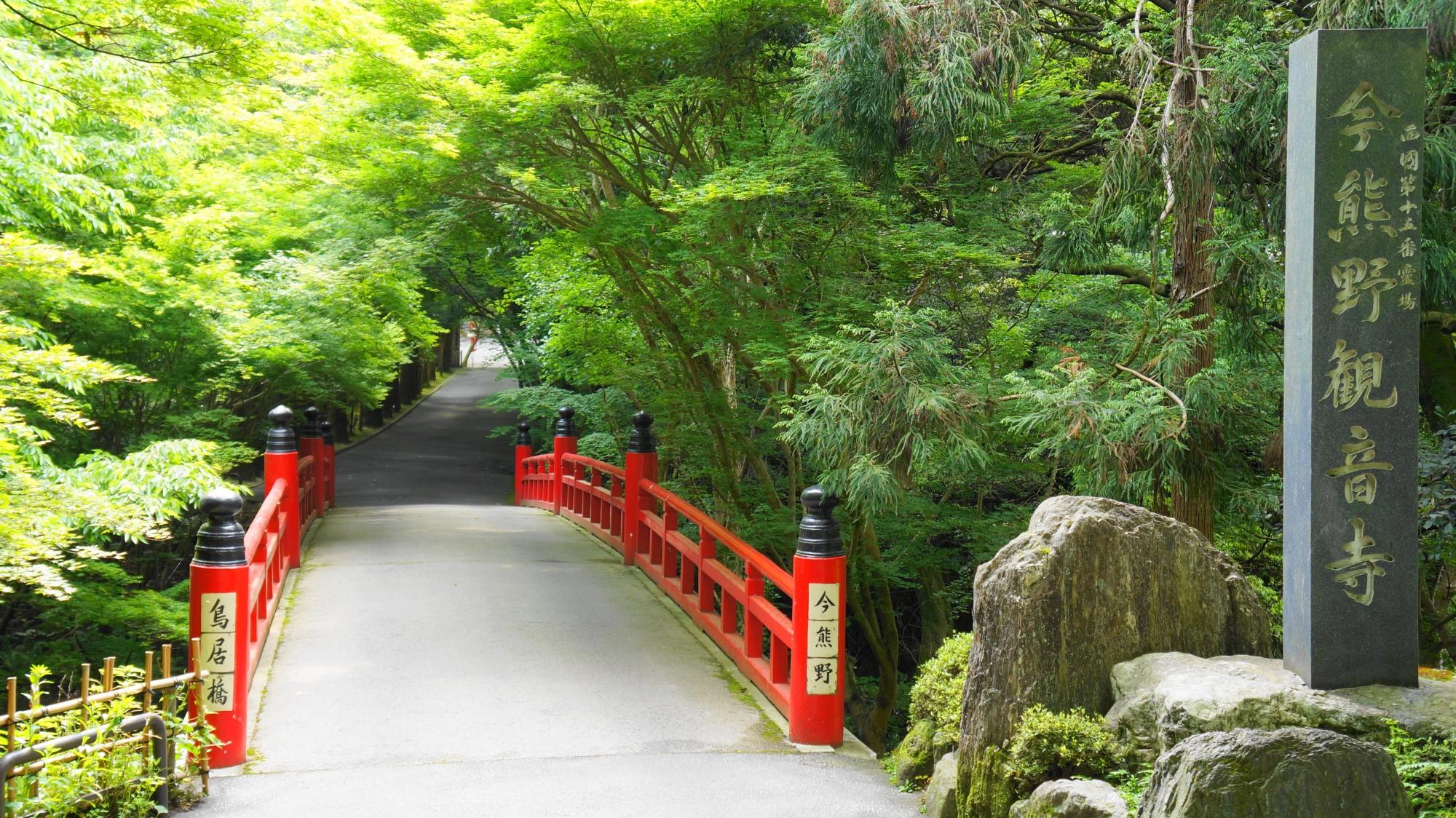 さわやかな新緑につつまれた今熊野観音寺の鳥居橋