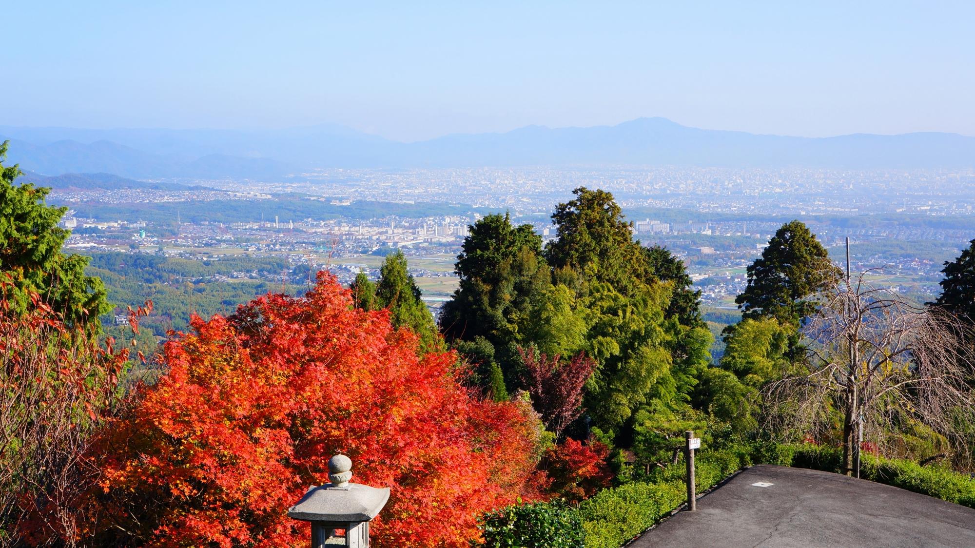 薬師堂の紅葉と京都市内の眺望