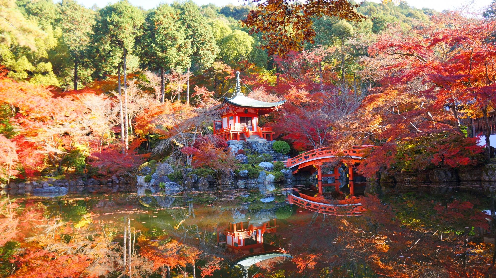 醍醐寺の弁天堂と水辺を彩る美しい紅葉