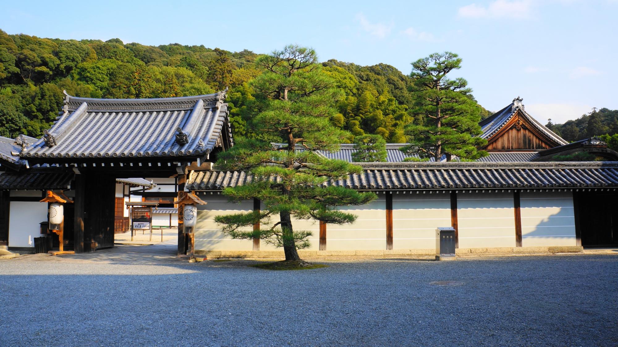 泉涌寺の本坊の門と土塀