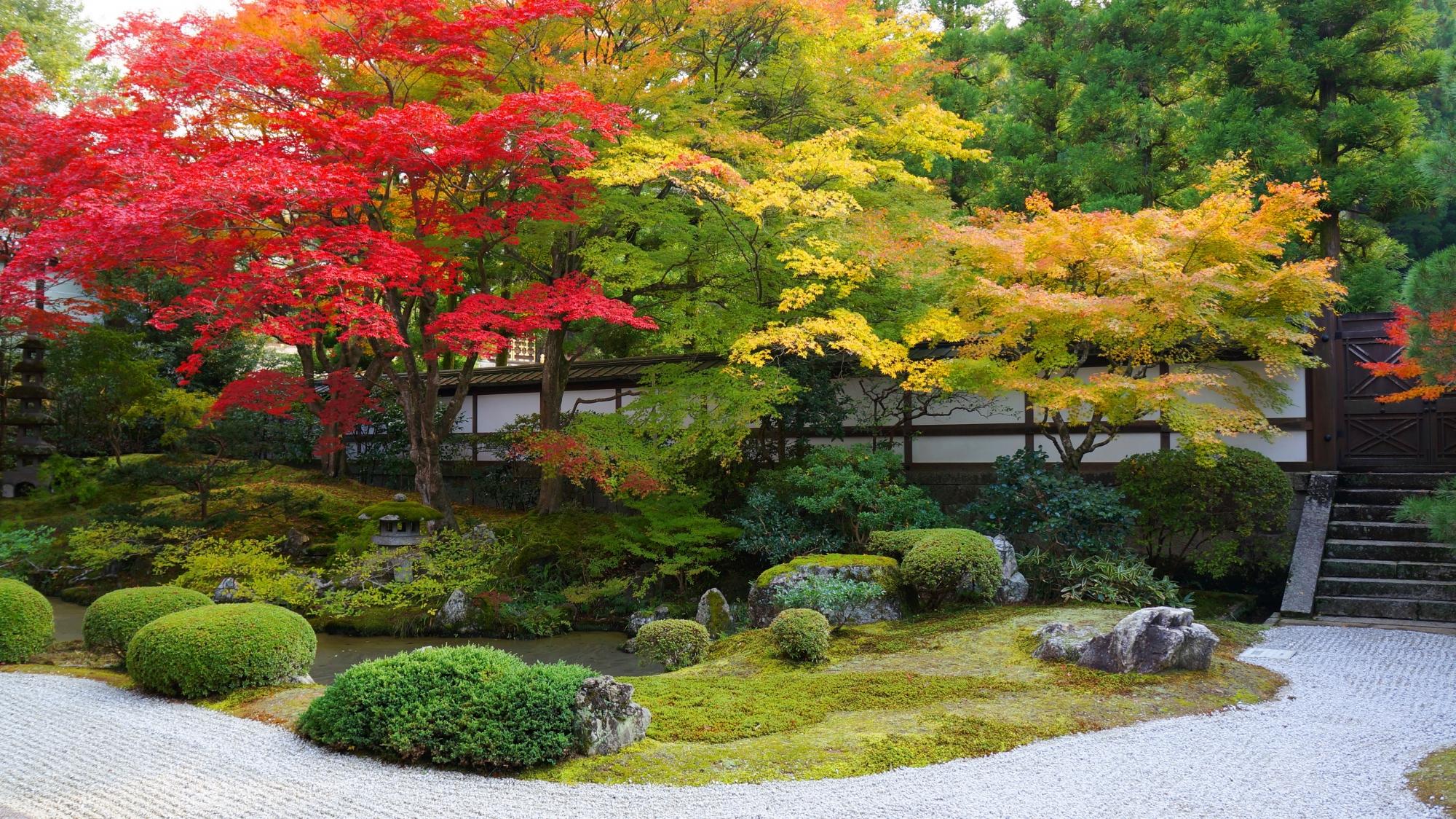 御寺泉涌寺の素晴らしい御座所庭園の紅葉や秋の情景