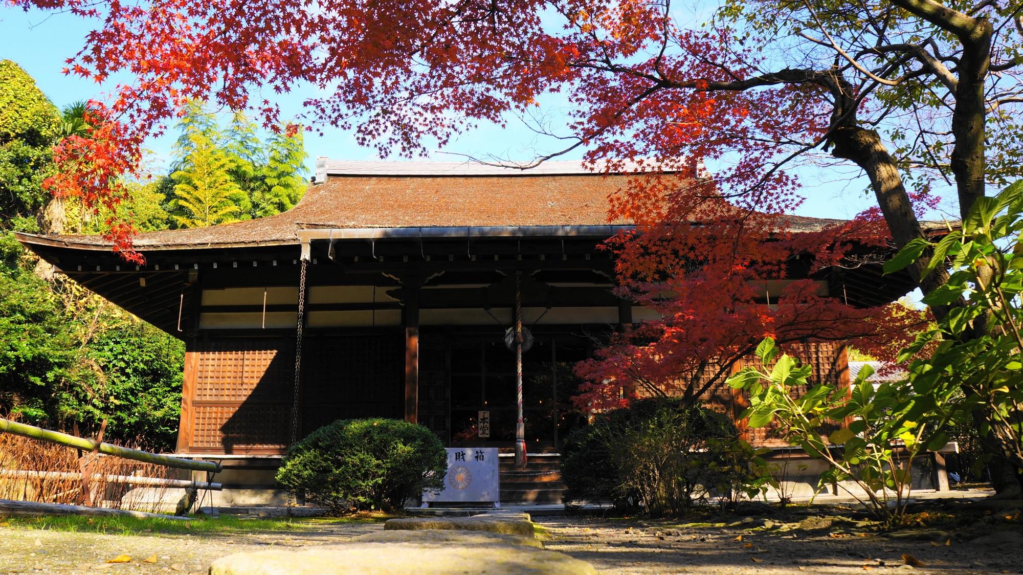 勧修寺の本堂と紅葉