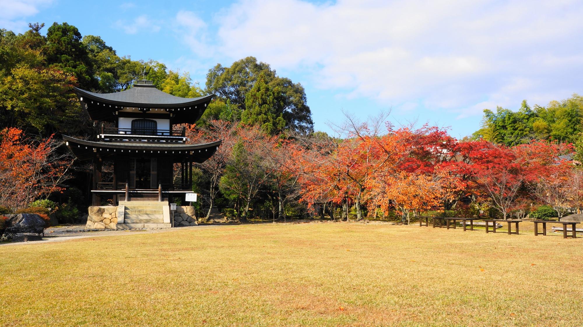 勧修寺の観音堂と紅葉