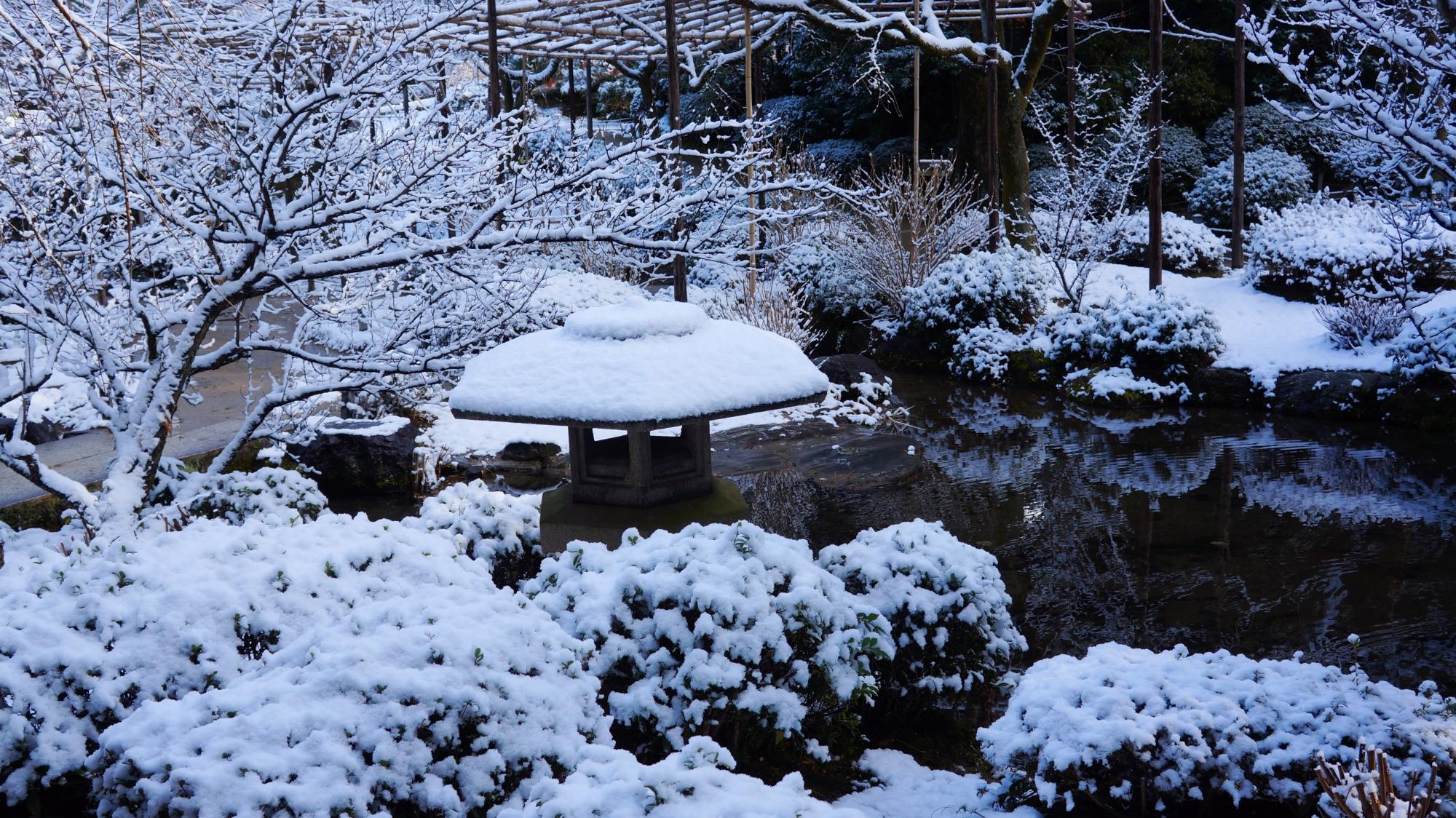 高画質 写真 平安神宮神苑 雪景色