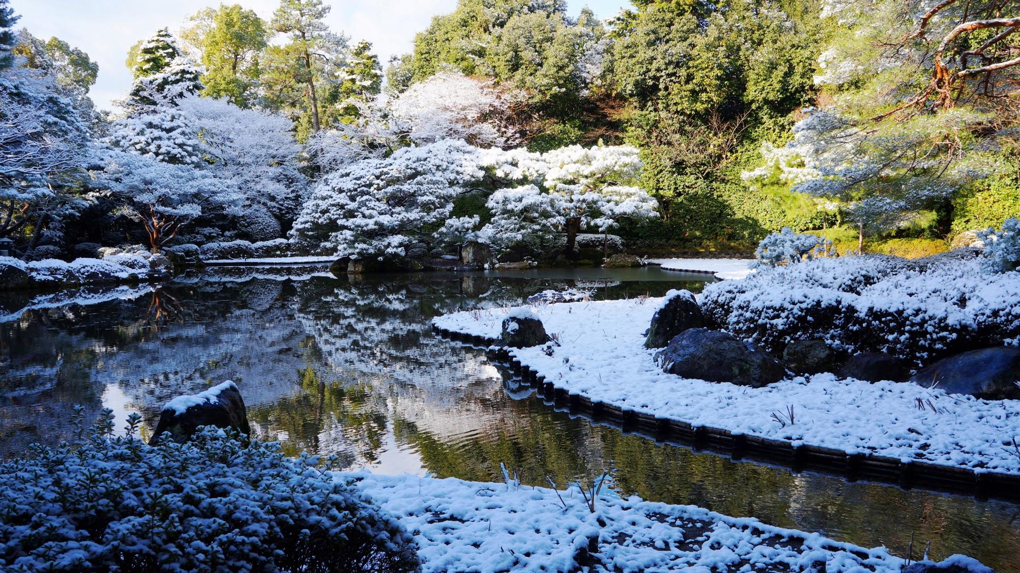雪の西神苑と白虎池