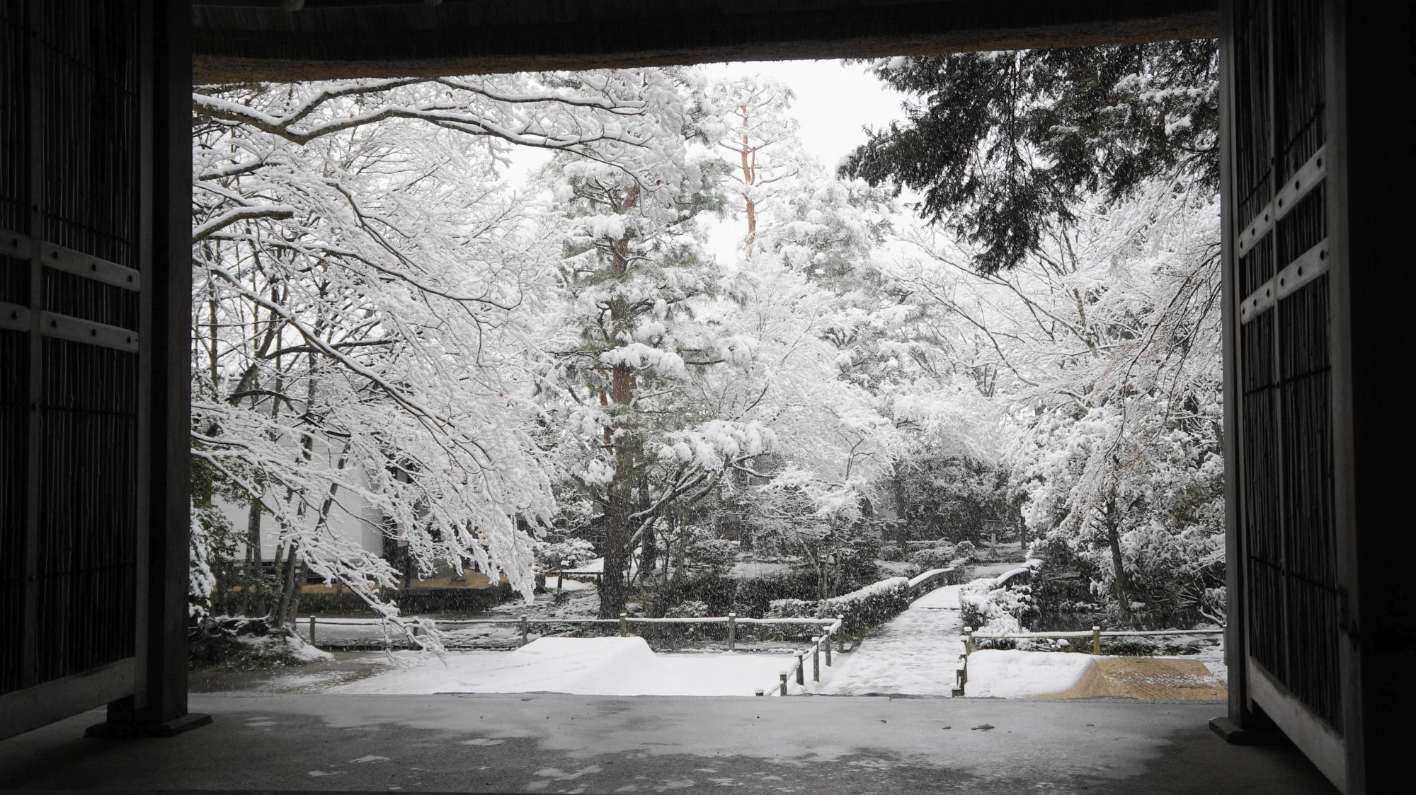 雪につつまれた法然院の境内