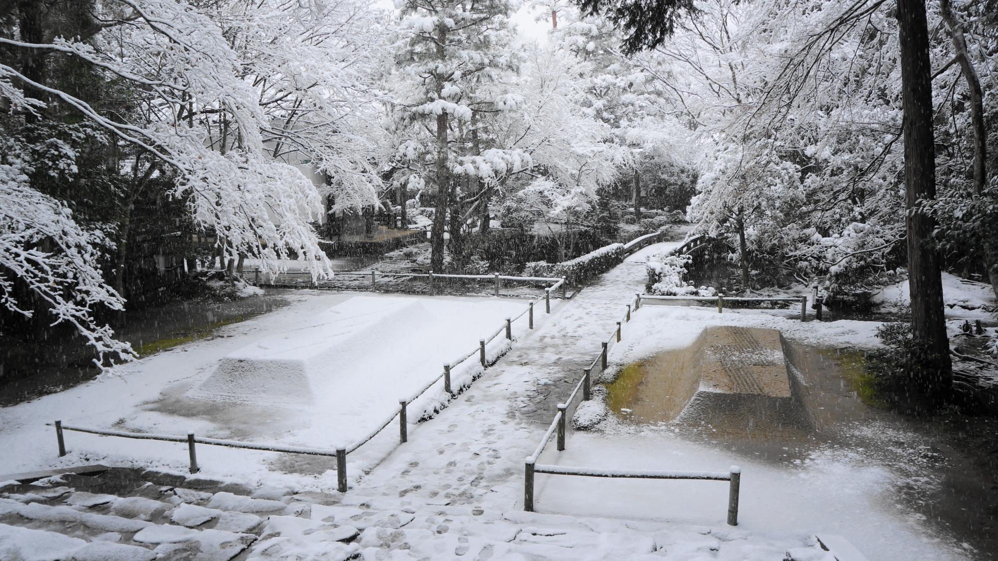 静寂と真っ白な雪につつまれた法然院