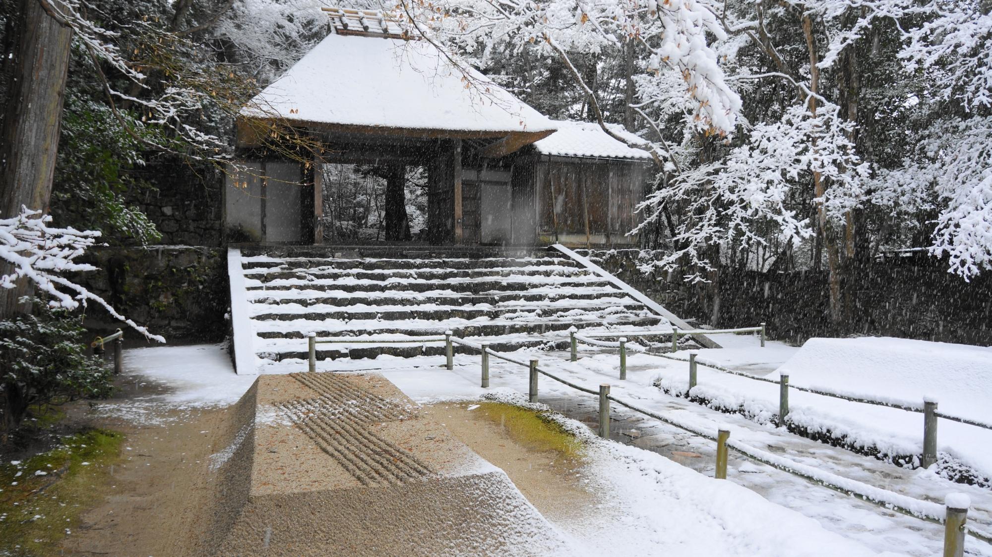 木陰になり雪が積もっていない白砂壇