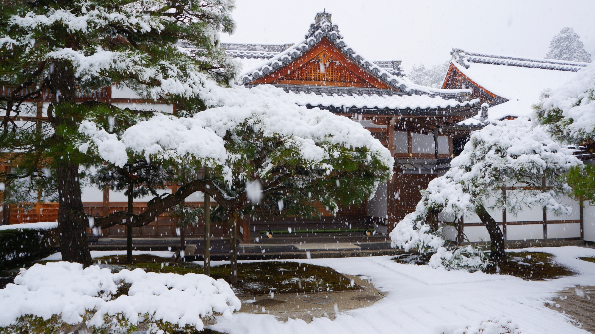 銀閣寺の庫裡前の雪景色