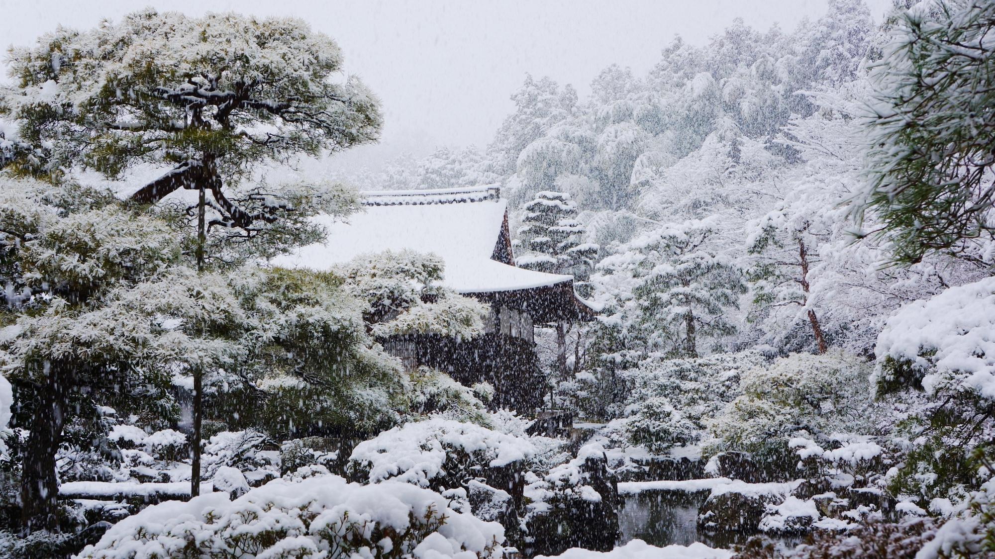 銀閣寺の錦鏡池(きんきょうち)と東求堂(とうぐどう)の雪景色