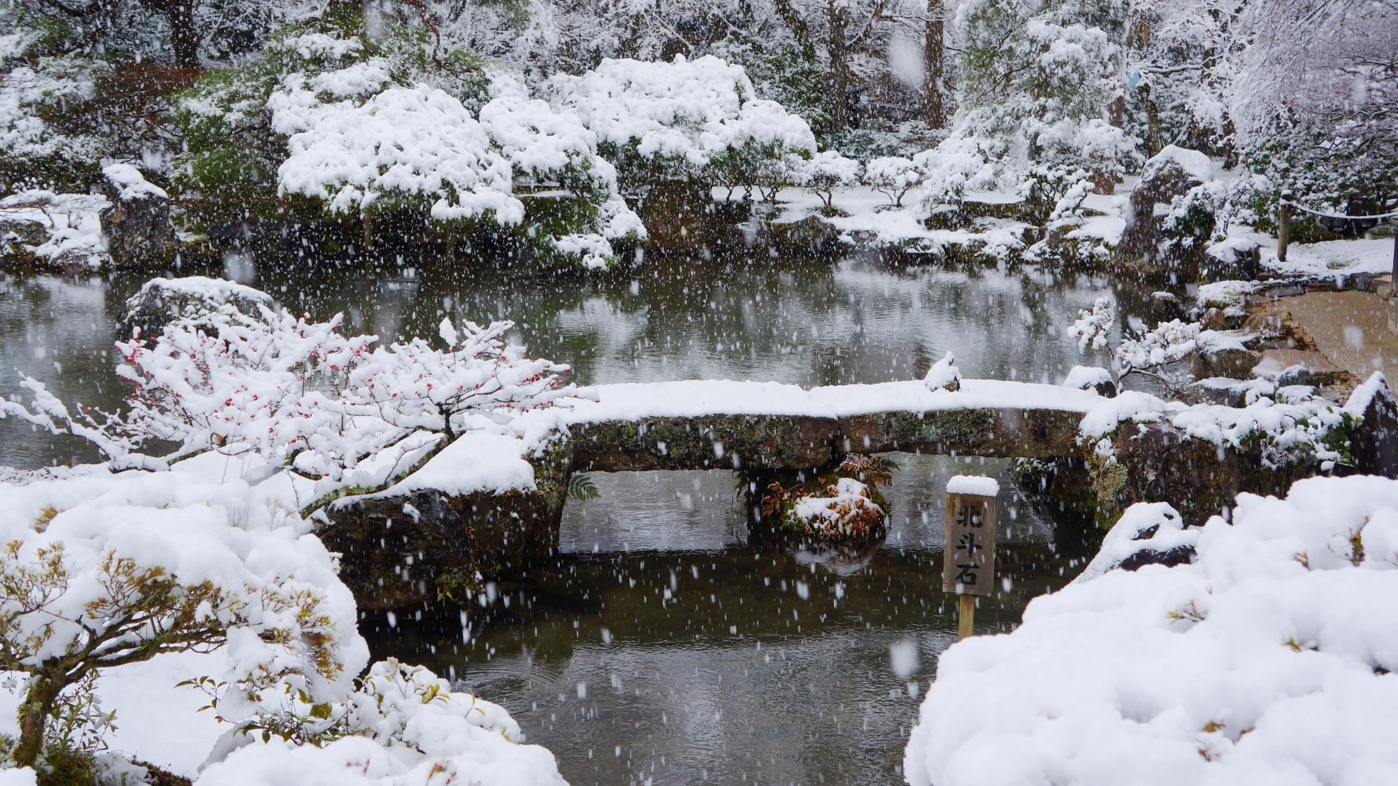 銀閣寺の風情ある雪の錦鏡池
