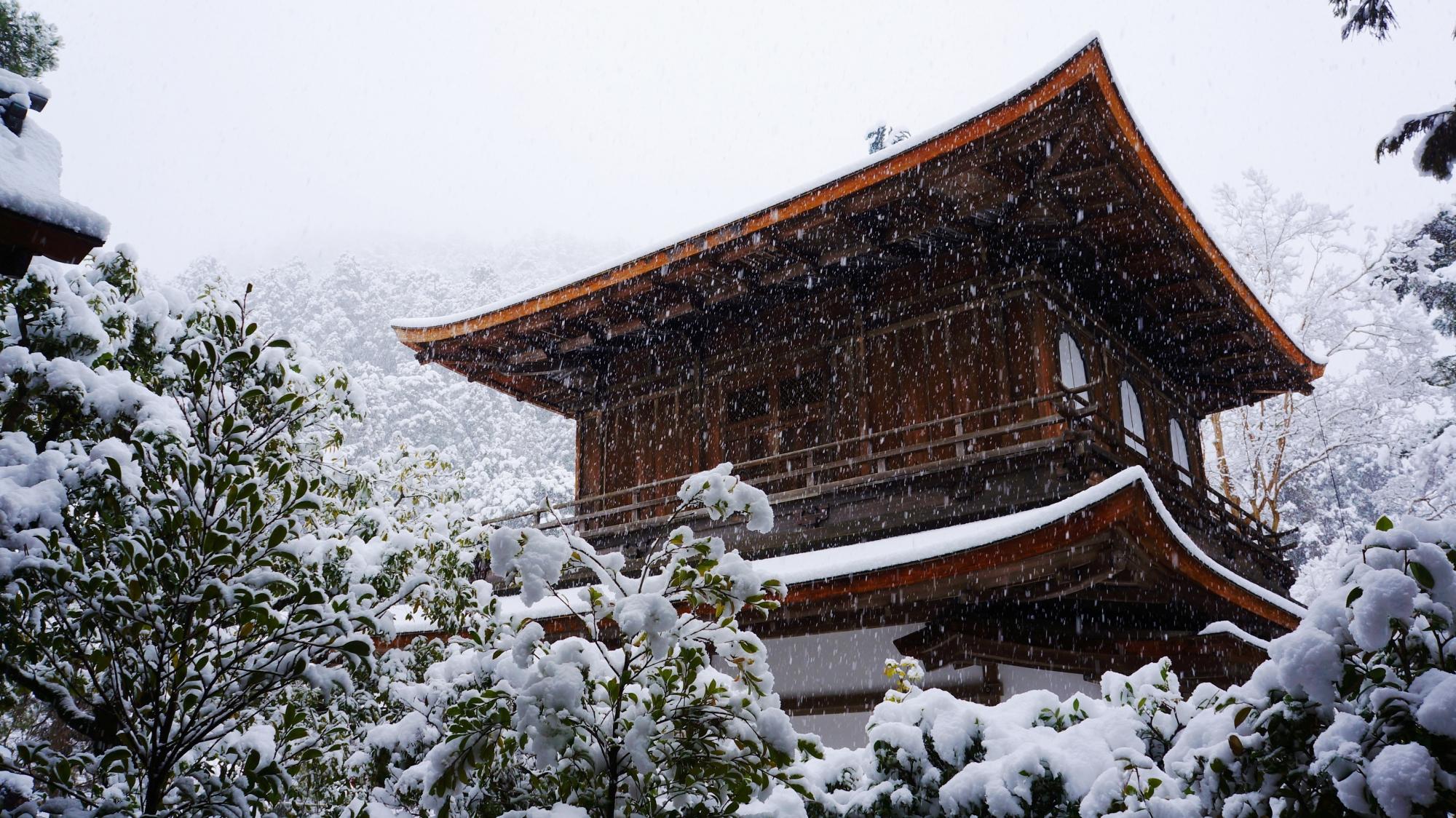 銀閣寺の素晴らしい雪景色