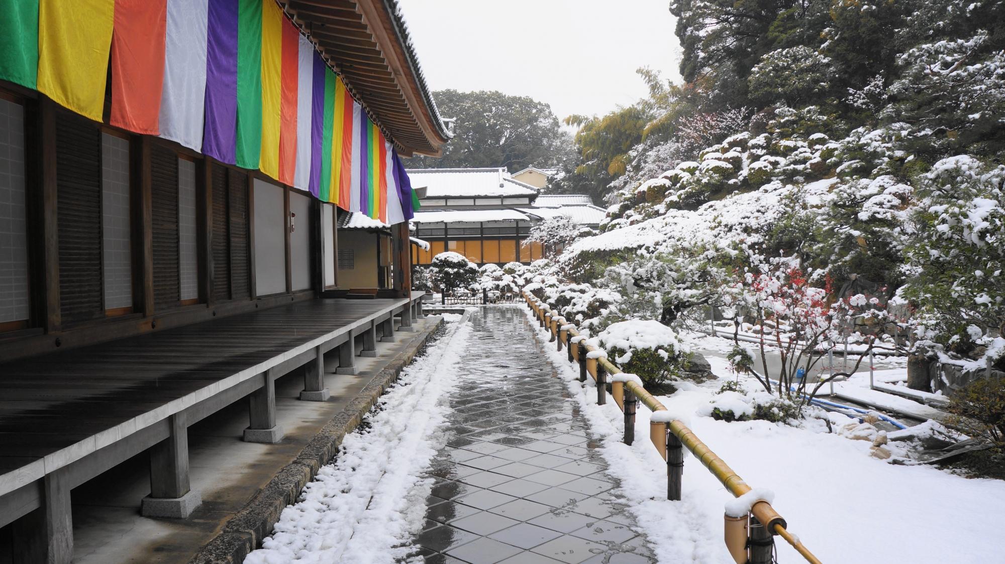 講堂と周囲の雪の庭園