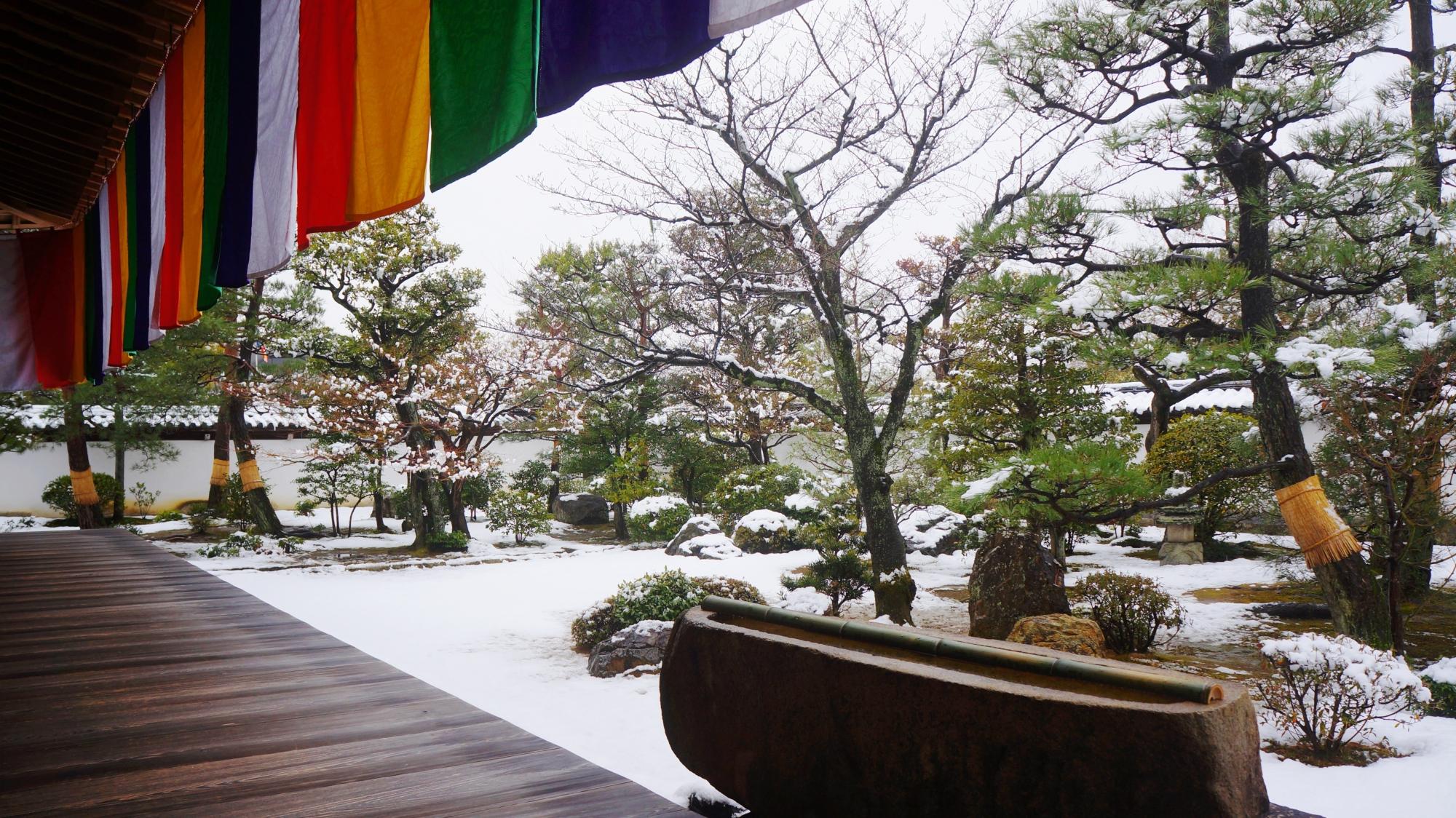 風情ある雪の庭園と一文字の手水鉢