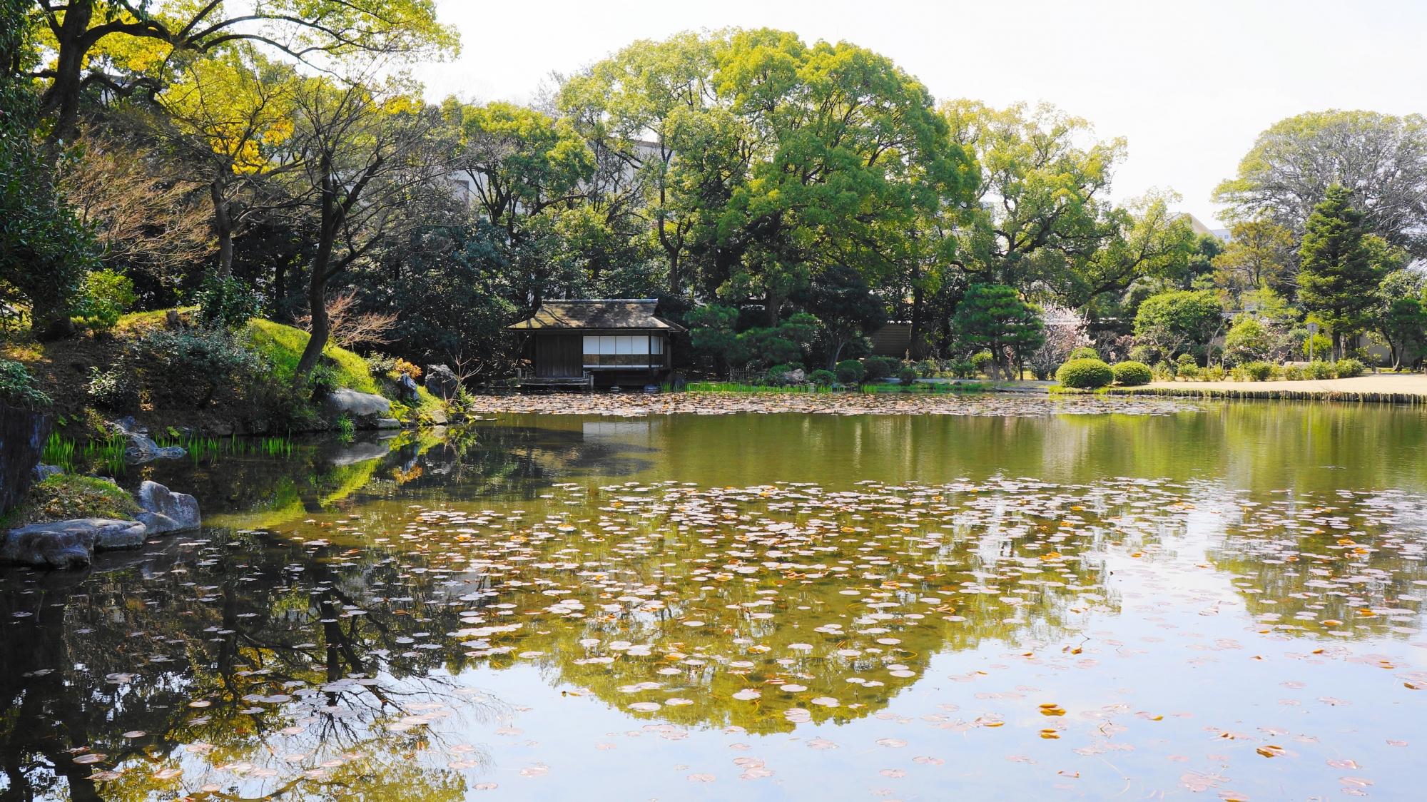 印月池の一角に佇む情緒ある漱枕居(そうちんきょ)