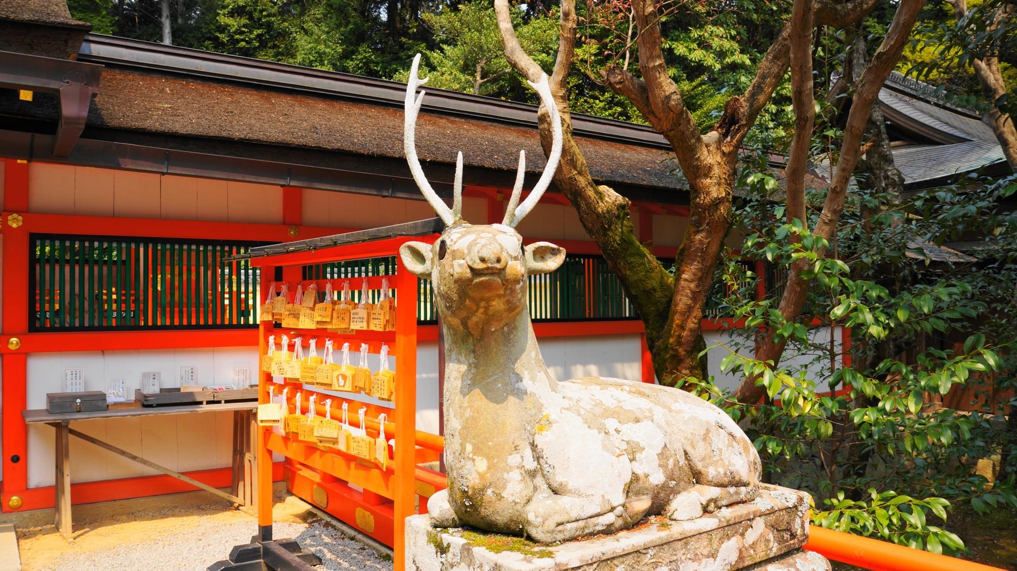 大原野神社の見守る狛鹿さん