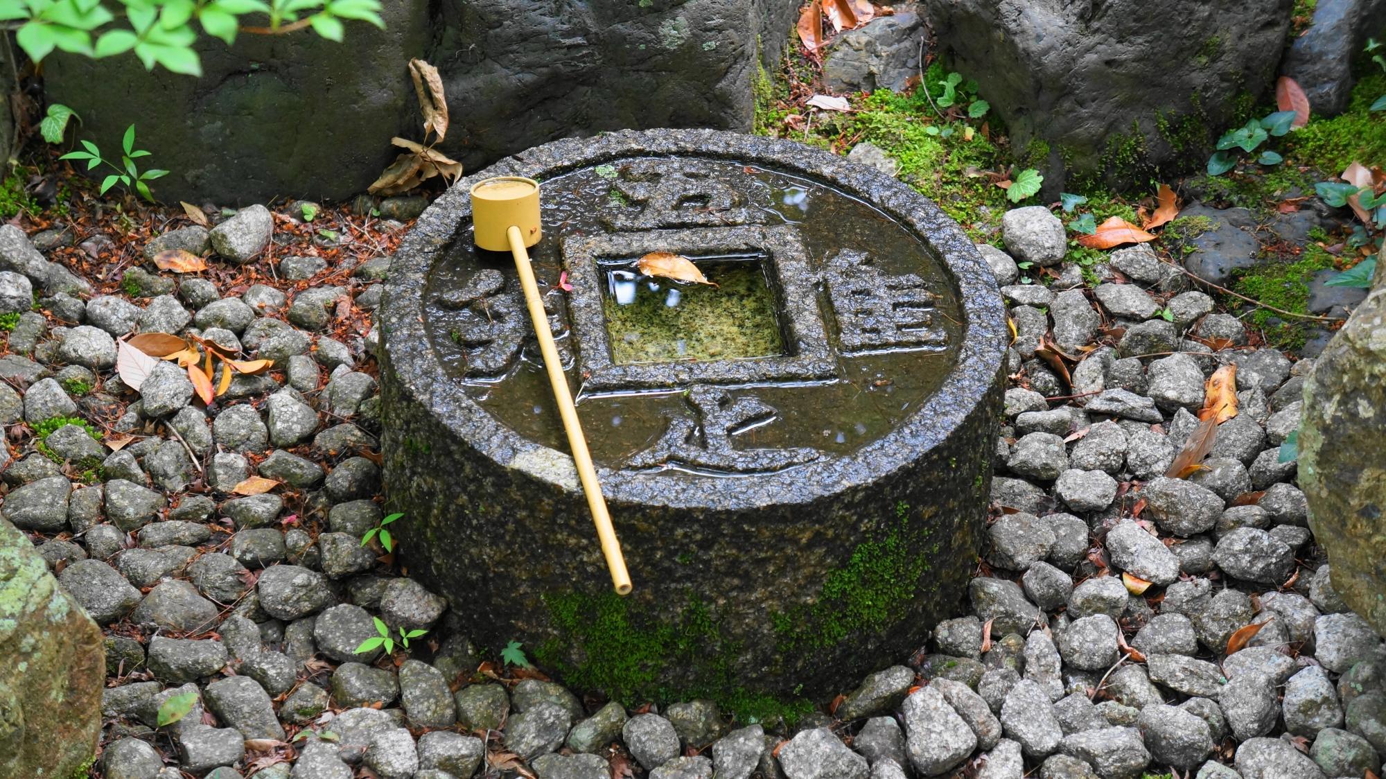 金福寺の風情たっぷりのつくばい
