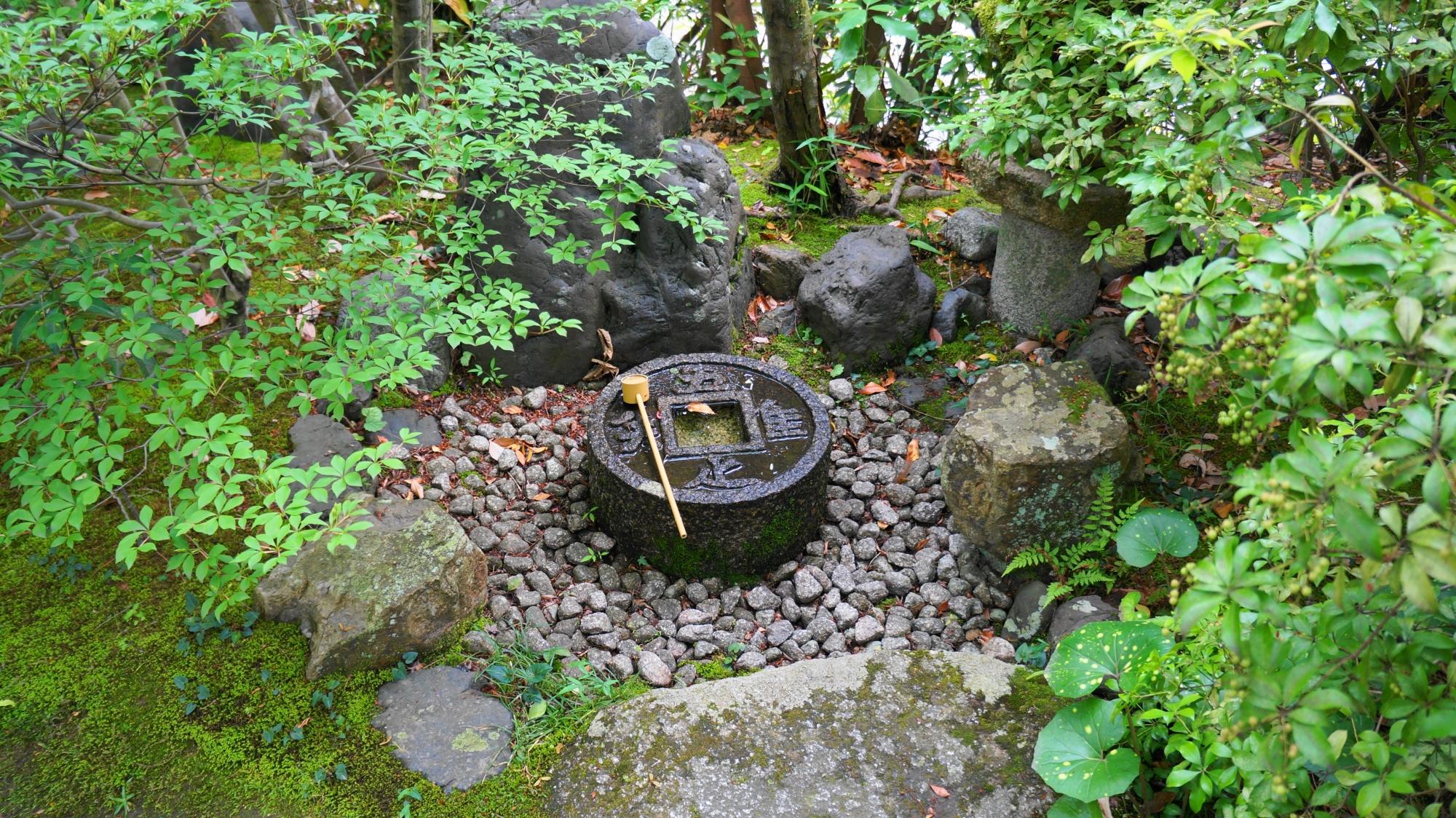 金福寺の庭園に入って直ぐにある蹲(つくばい)