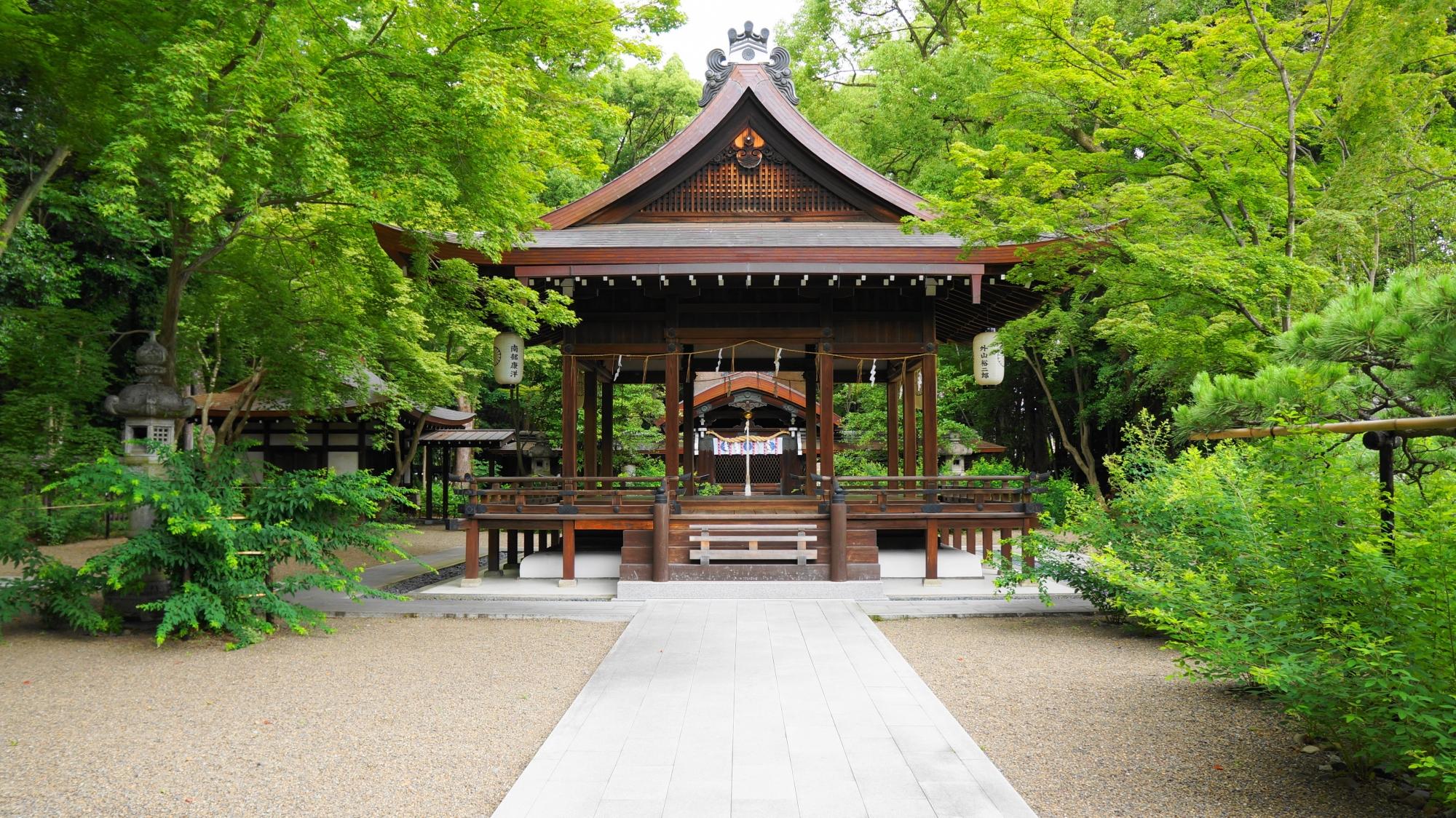 梨木神社の拝殿と青もみじ