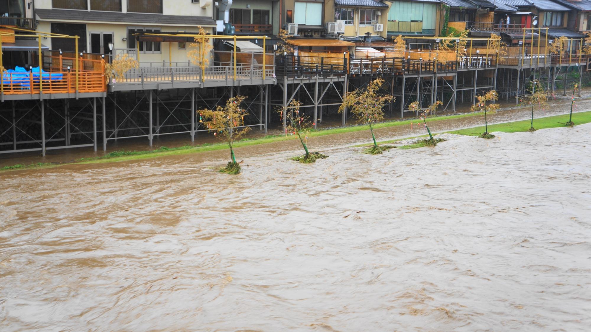 台風11号の大雨で中止になった2014年の京の七夕鴨川会場
