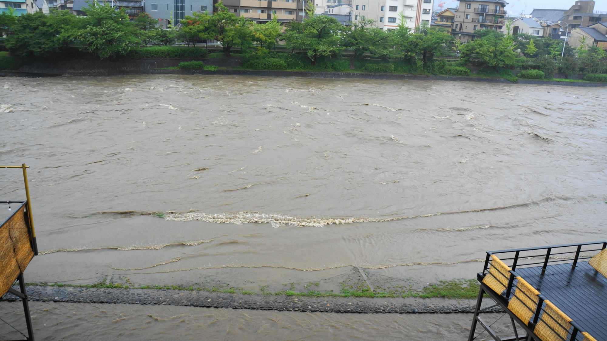 鴨川の増水で当然中止となる川床の料理