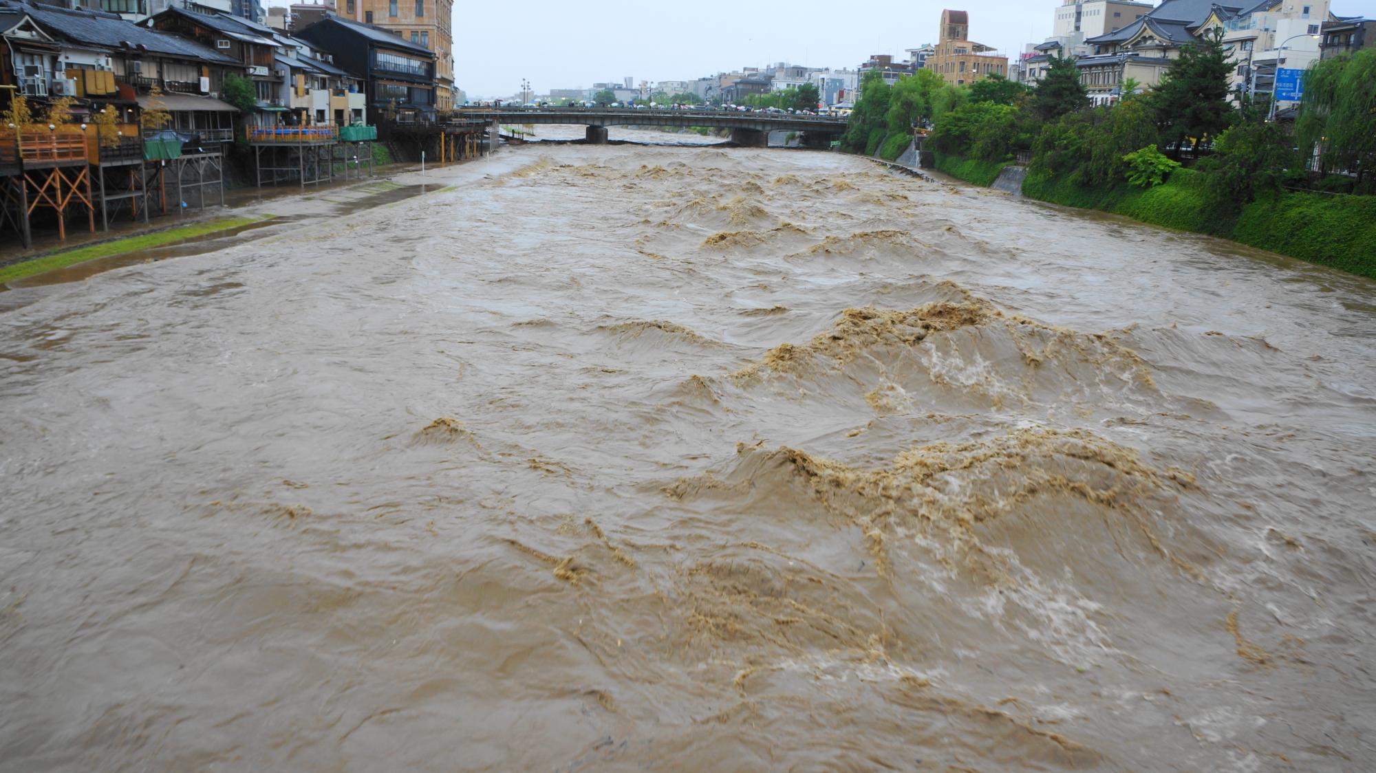 怖いくらいの大量の水が押し寄せてくる2014年8月10日の濁流の鴨川