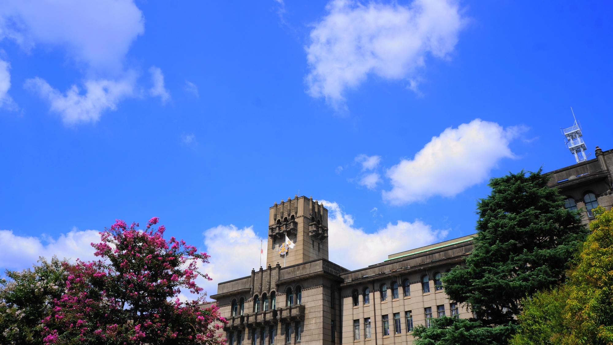 京都市役所の素晴らしい百日紅(サルスベリ)とレトロ建築や夏の情景