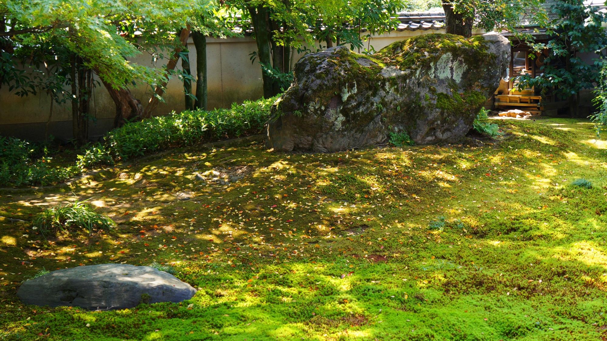 獅子の形をした獅子岩が佇む法輪寺の方丈庭園