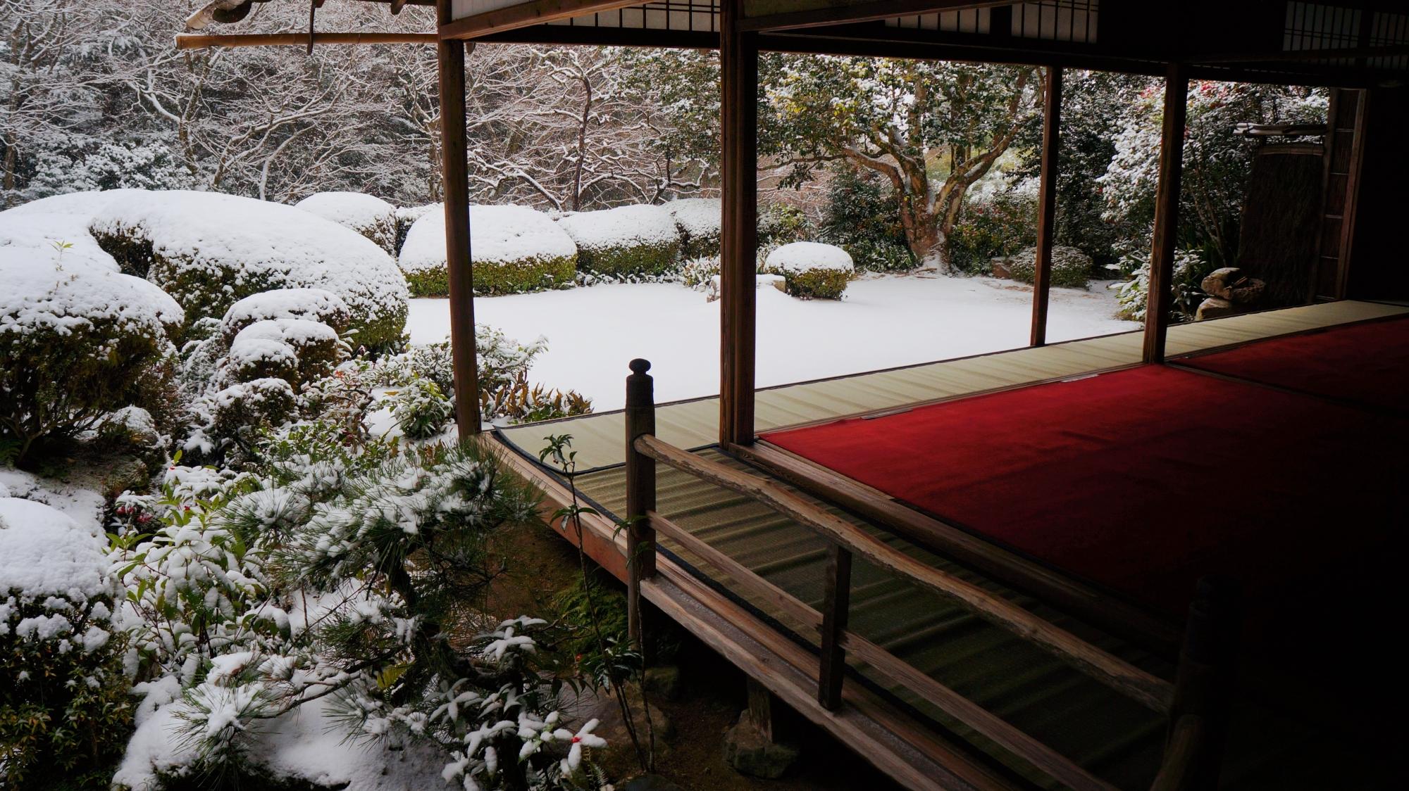 詩仙の間から眺めた雪の書院と庭園