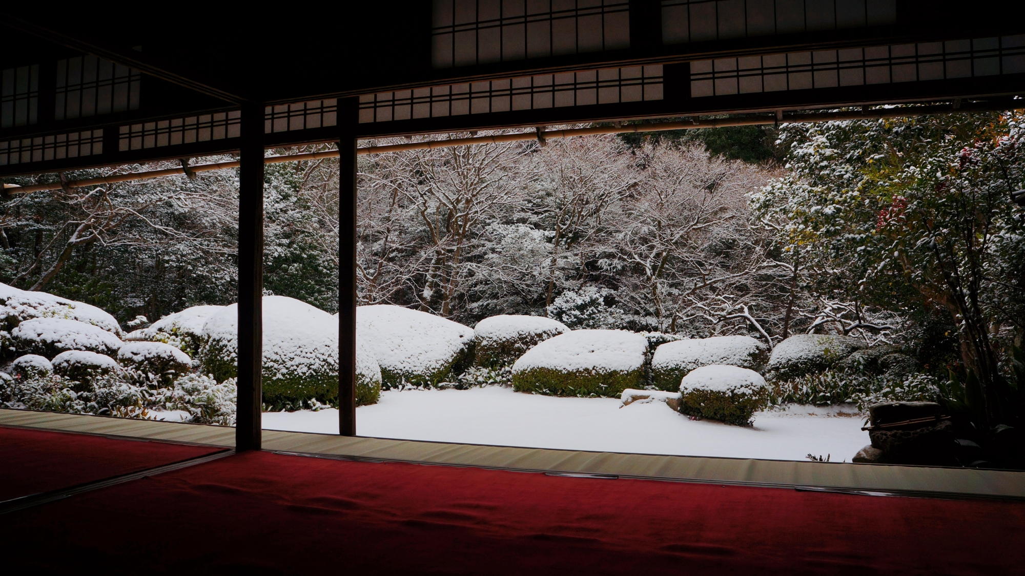 詩仙堂の赤い絨毯が演出する白い雪
