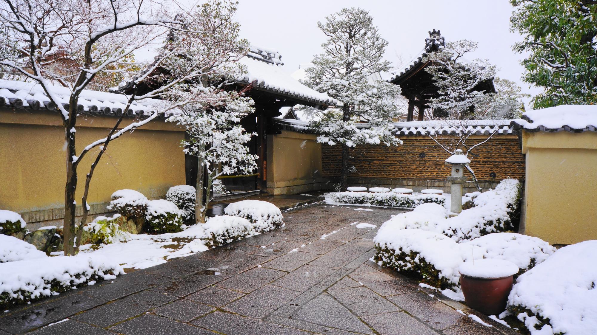 芳春院の参道の奥の方の雪景色