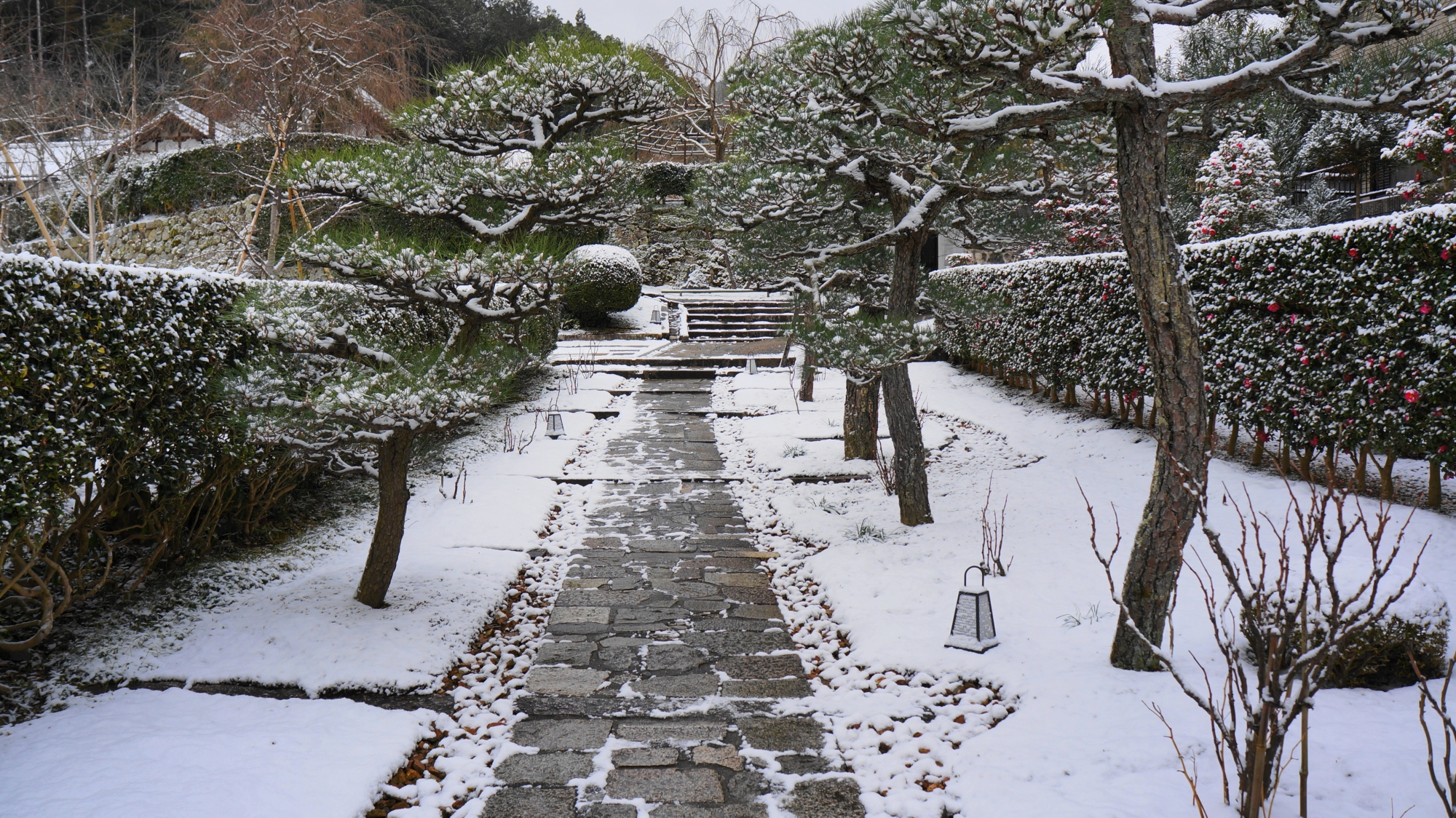 雪につつまれた石畳の参道